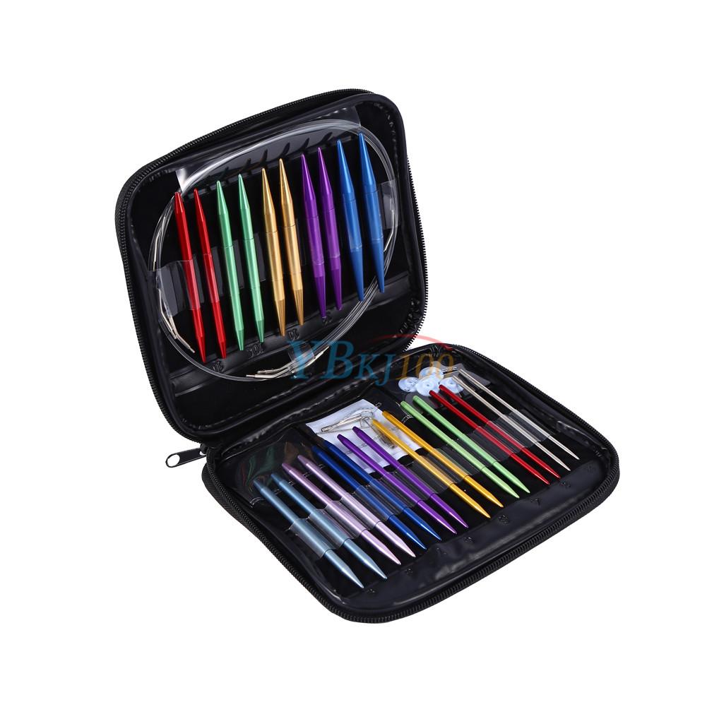 Knitting Needle Sets In Case : Size interchangeable aluminium circular knitting needle
