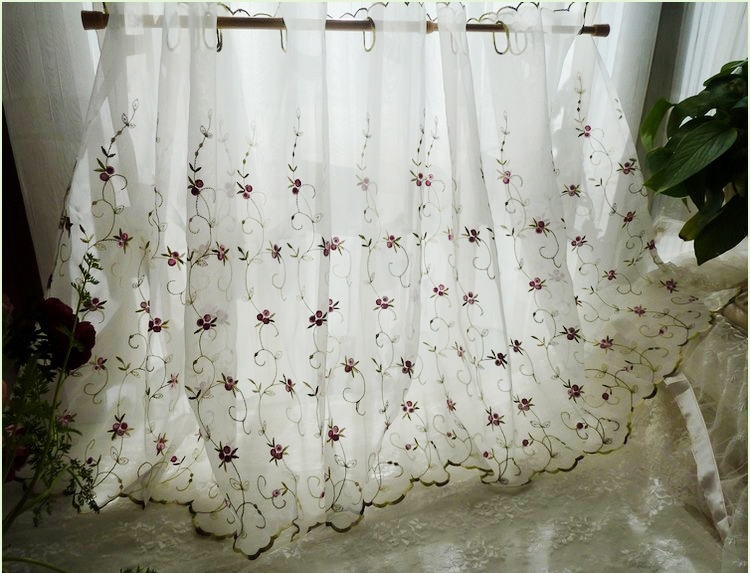 French Country Cottage Floral Embroidered Sheer Net