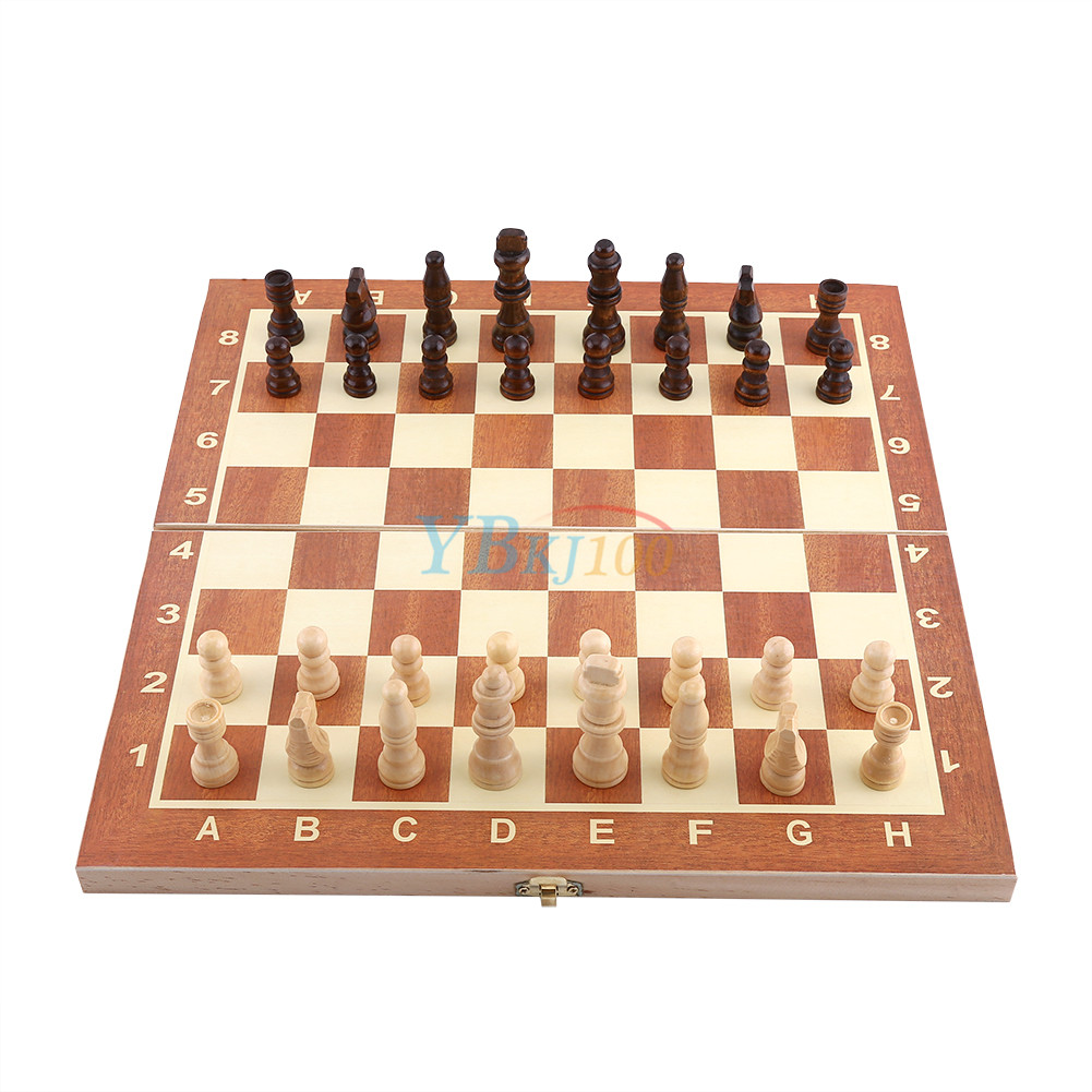 Wooden portable pieces chess set folding board box wood hand carved gift toys ebay - Simple chess set ...