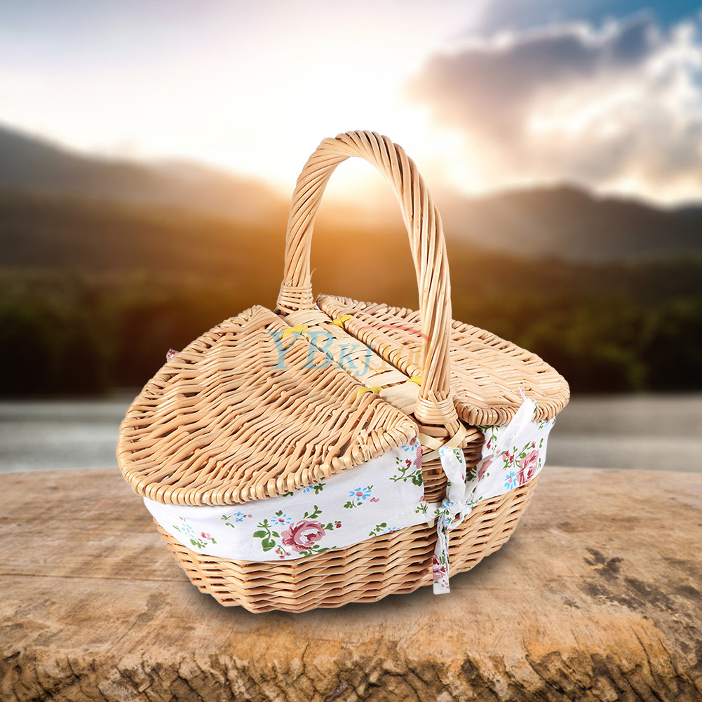 multi functional wicker camping picnic basket storage hamper with lid handle hot ebay. Black Bedroom Furniture Sets. Home Design Ideas