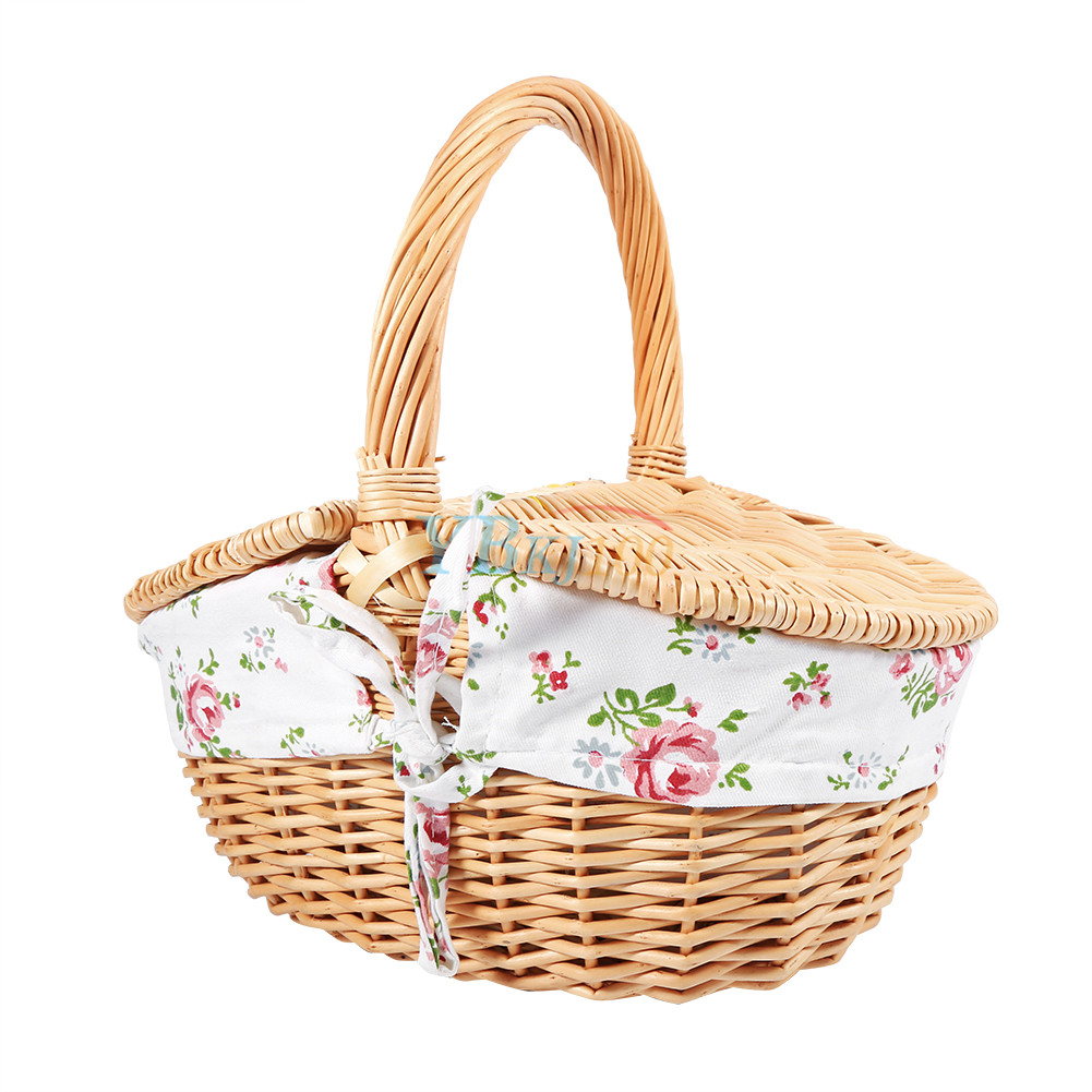 Wicker Toy Basket With Lid : Wicker camping picnic basket ping storage hamper with