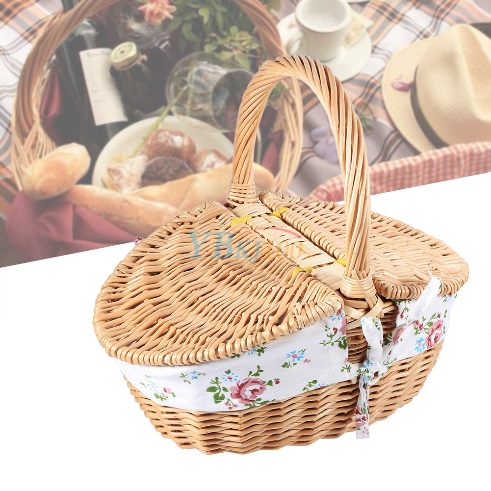Wicker Toy Basket With Lid : Multi functional wicker camping picnic basket storage