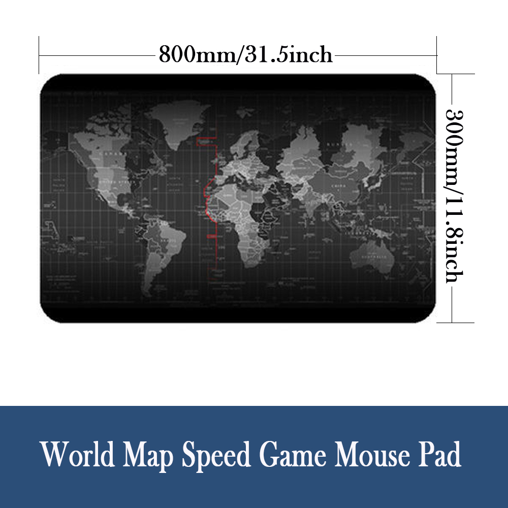 Extended Gaming Mouse Pad Large Size 900 X 400 Mm World Map Mousepad