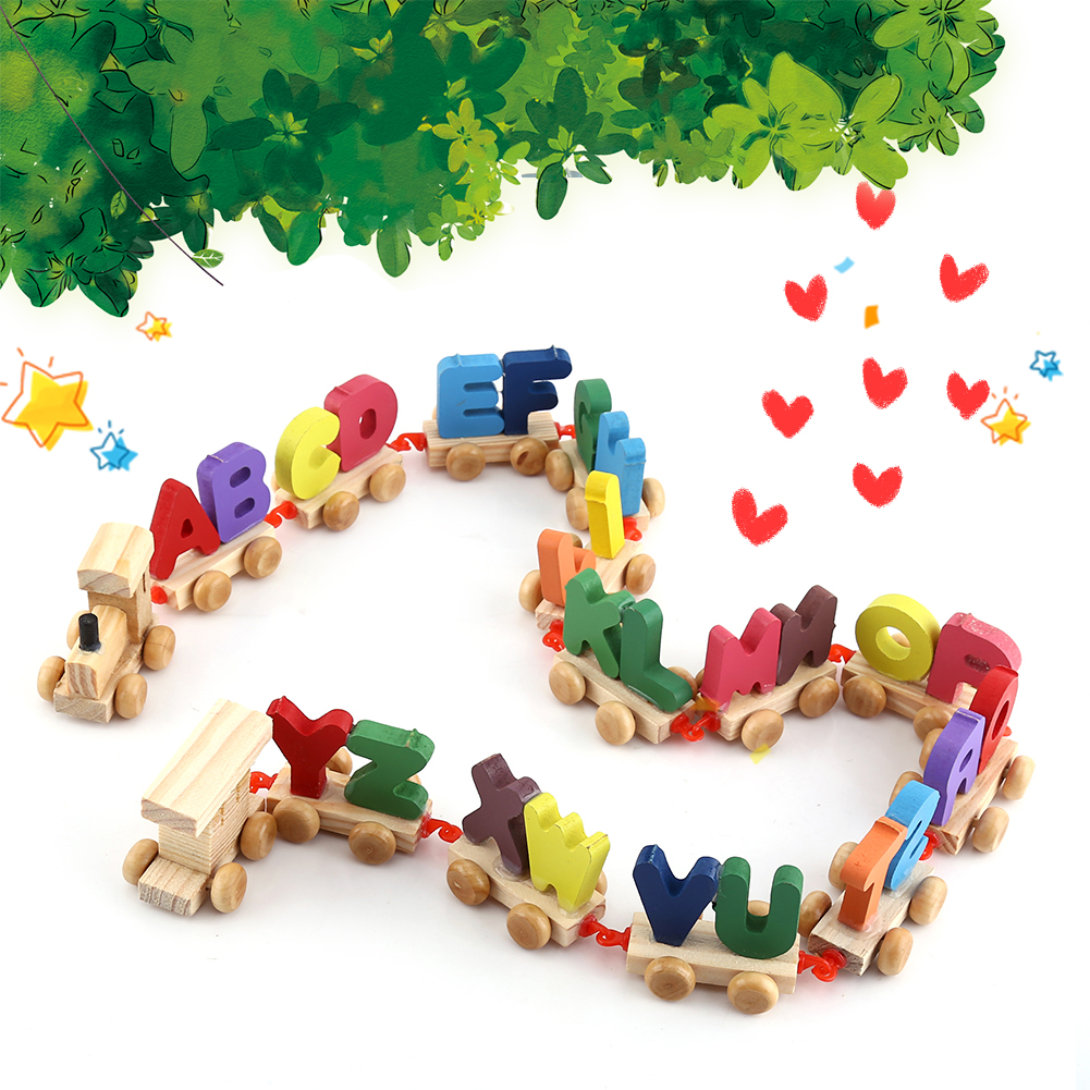 Wooden Toys For Pre School : Wooden train set alphabet wood letters with wheels kids