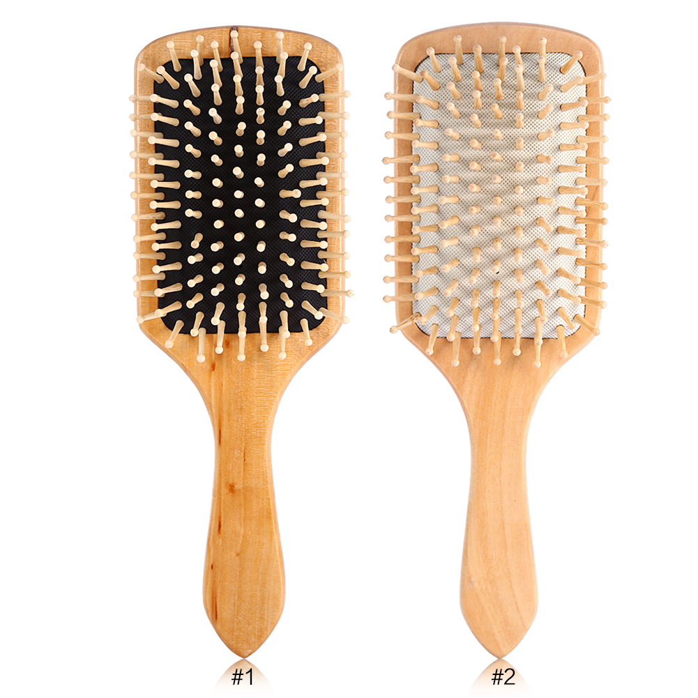 Natural Wood Paddle Brush Wooden Hair Care Spa Massage ...