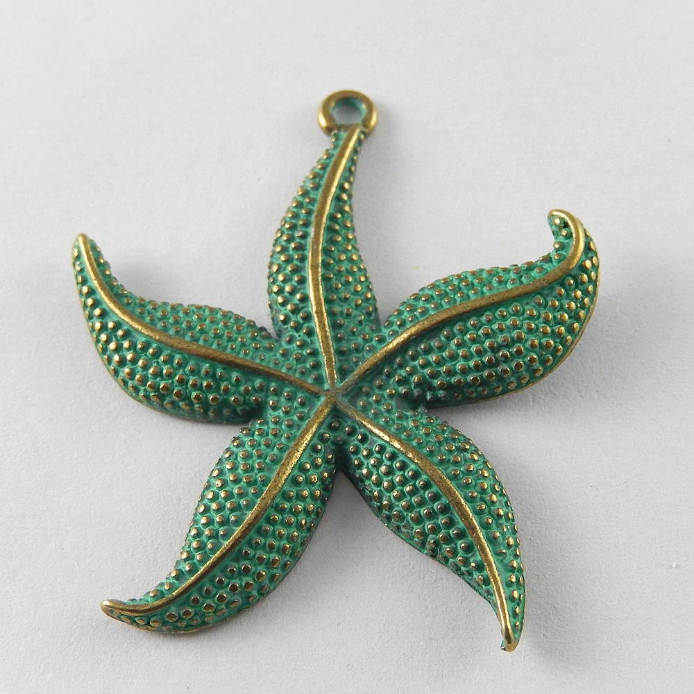Lot 5pcs Retro Bronze Alloy Green Starfish Shells Charms Pendant Jewelry Making