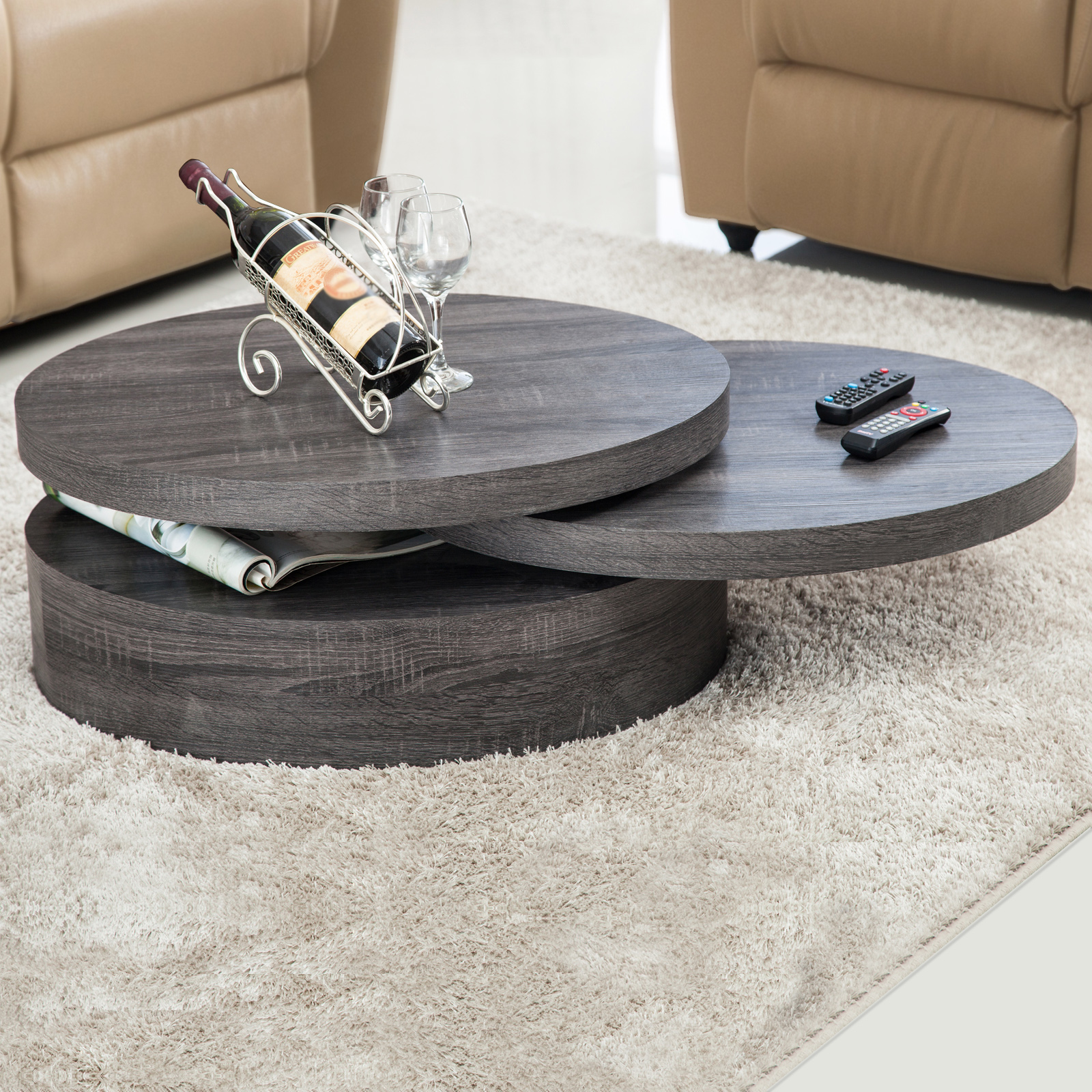 Oval Rotating Coffee Table: Modern Contemporary Black Oak Round Rotating Wood Coffee