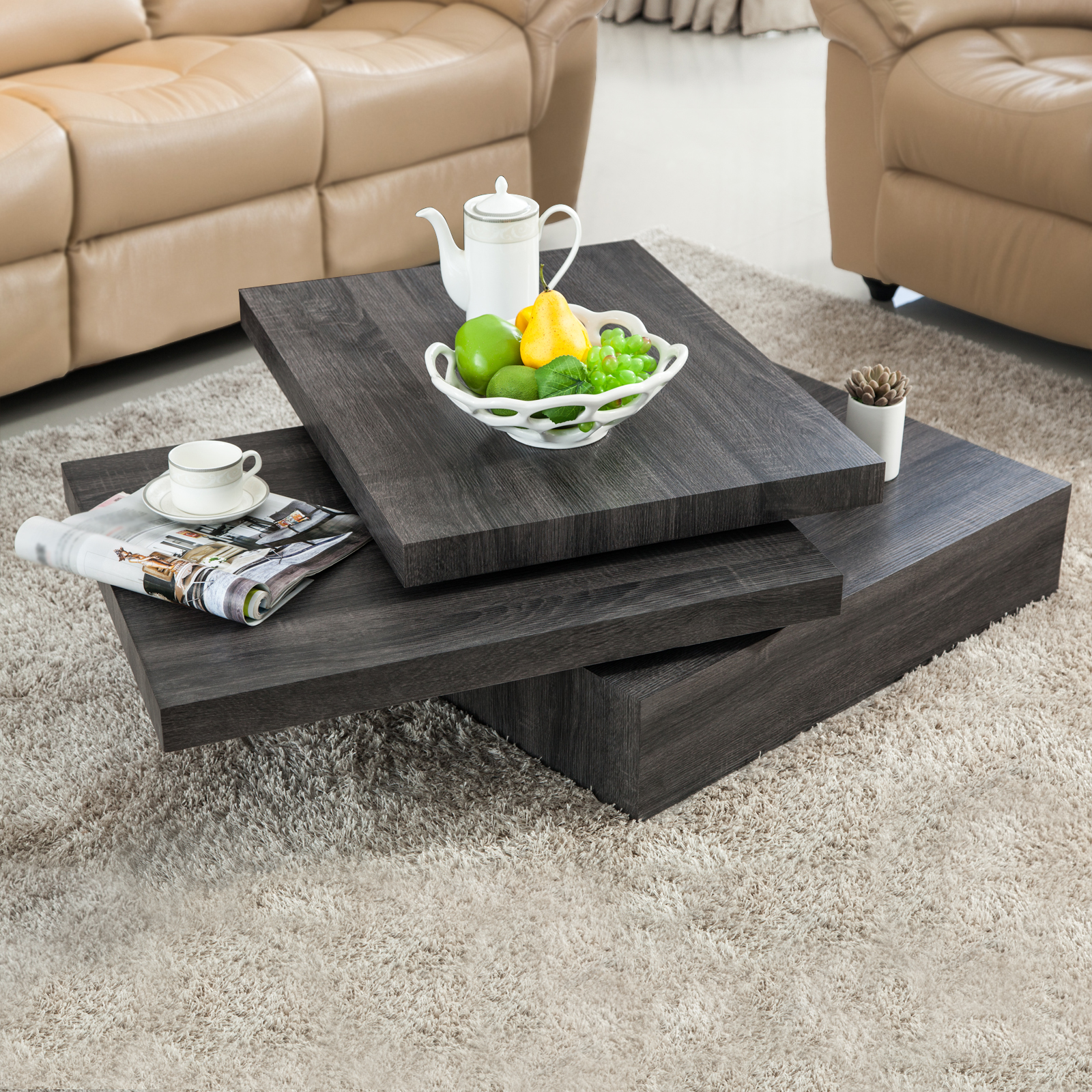 Oak square rotating wood coffee table with 3 layers home - Brickmakers coffee table living room ...