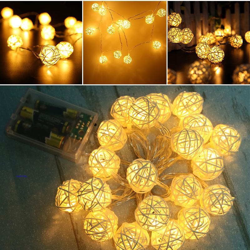Room 20 Warm White Rattan Ball LED String Light Fairy Lamp Wedding Party Decor eBay