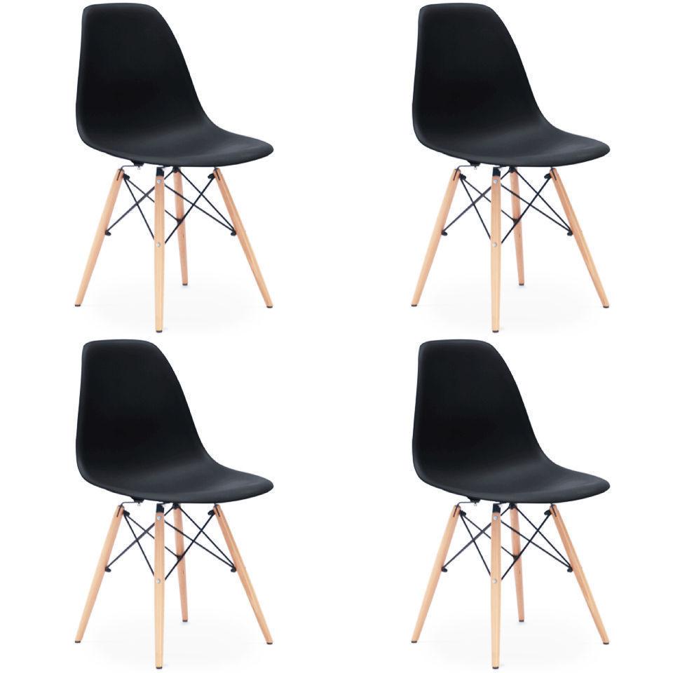 4x st hle eiffel stuhl retro esszimmerstuhl k chenstuhl for Stuhl plastik holzbeine