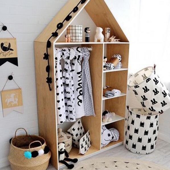 Canvas handbag basket toy clothes storage bag leather for Baskets for kids room