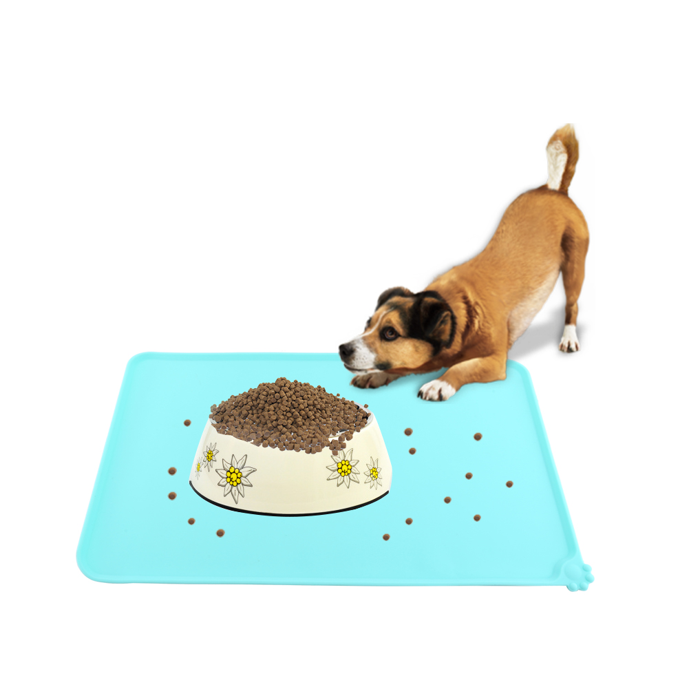 Pet Dog Puppy Feeding Mat Square Silicone Dish Bowl Feed
