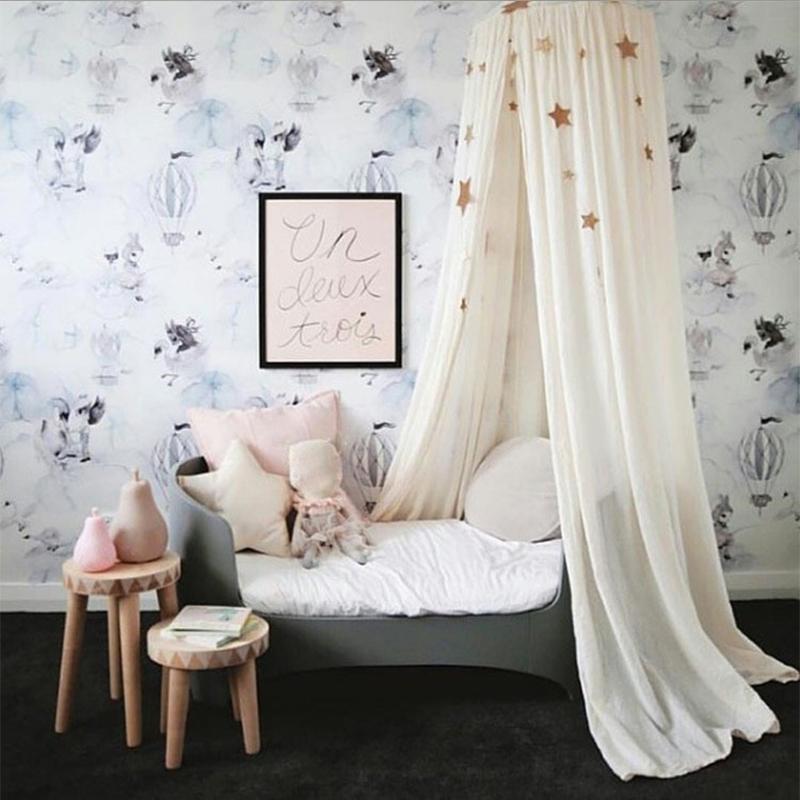 Pink Princess Cotton Cloth Round Bedding Hanging Canopy