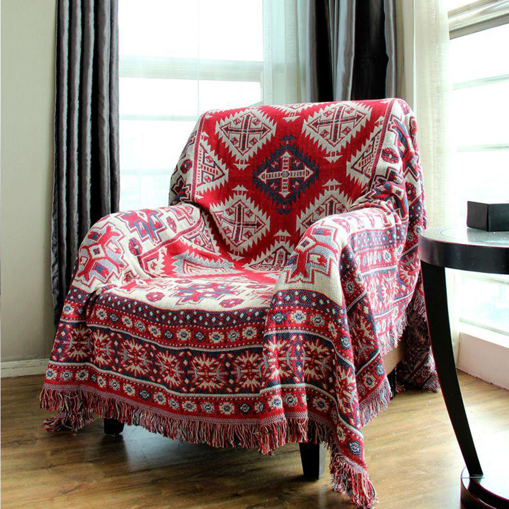 Multipurpose Red Geometric Two Side Cotton Blanket Throw