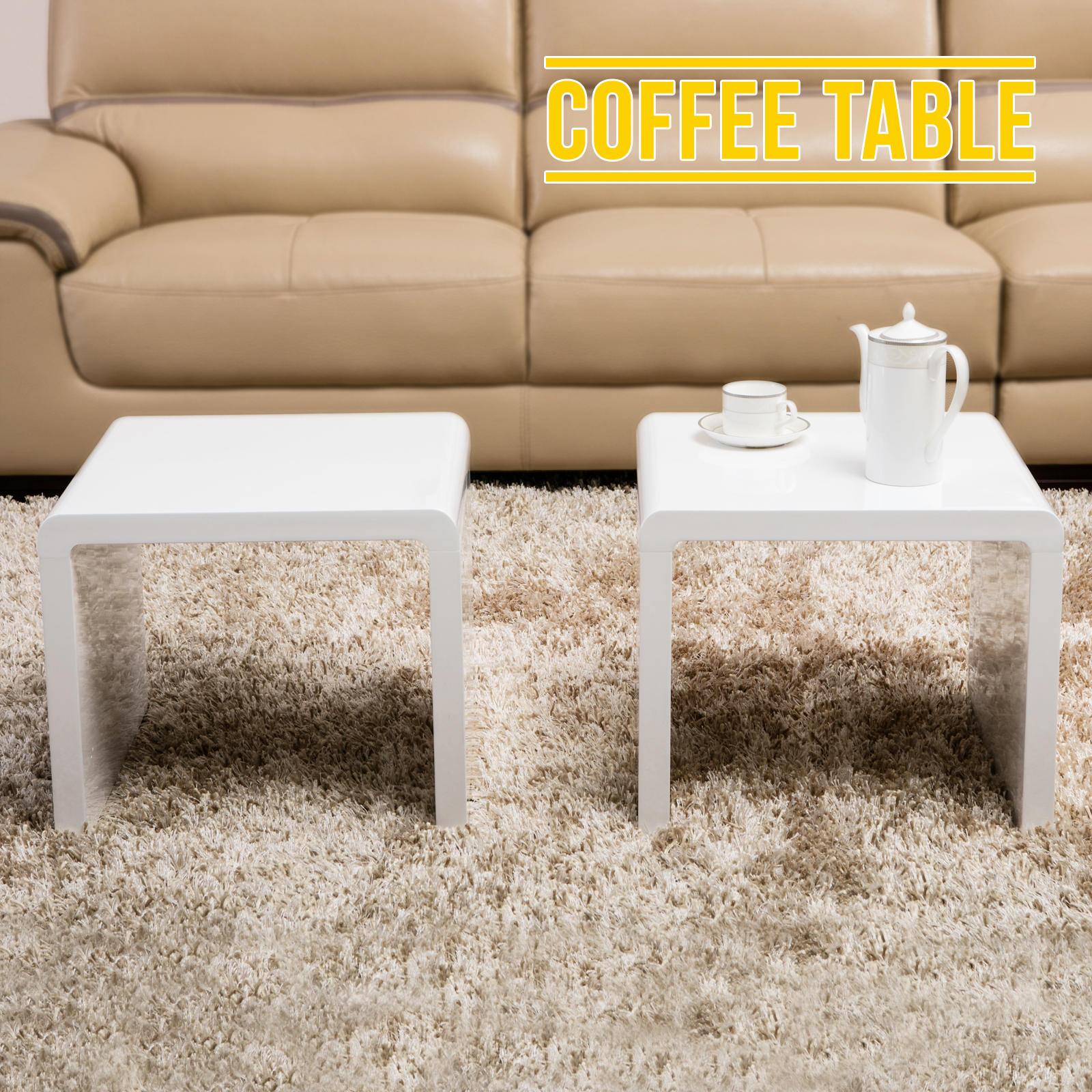 design white high gloss coffee table side end table set of
