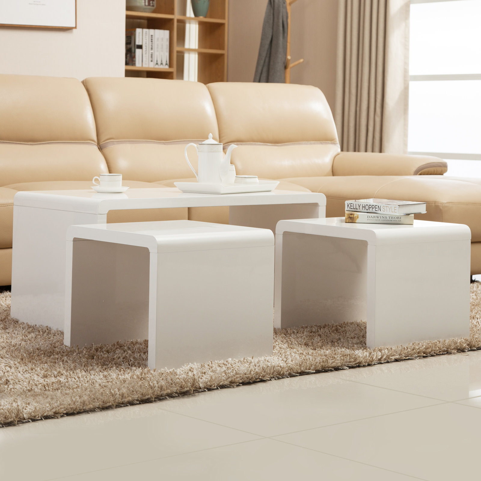 New high gloss white coffee table side end table set of 2 for B q living room furniture