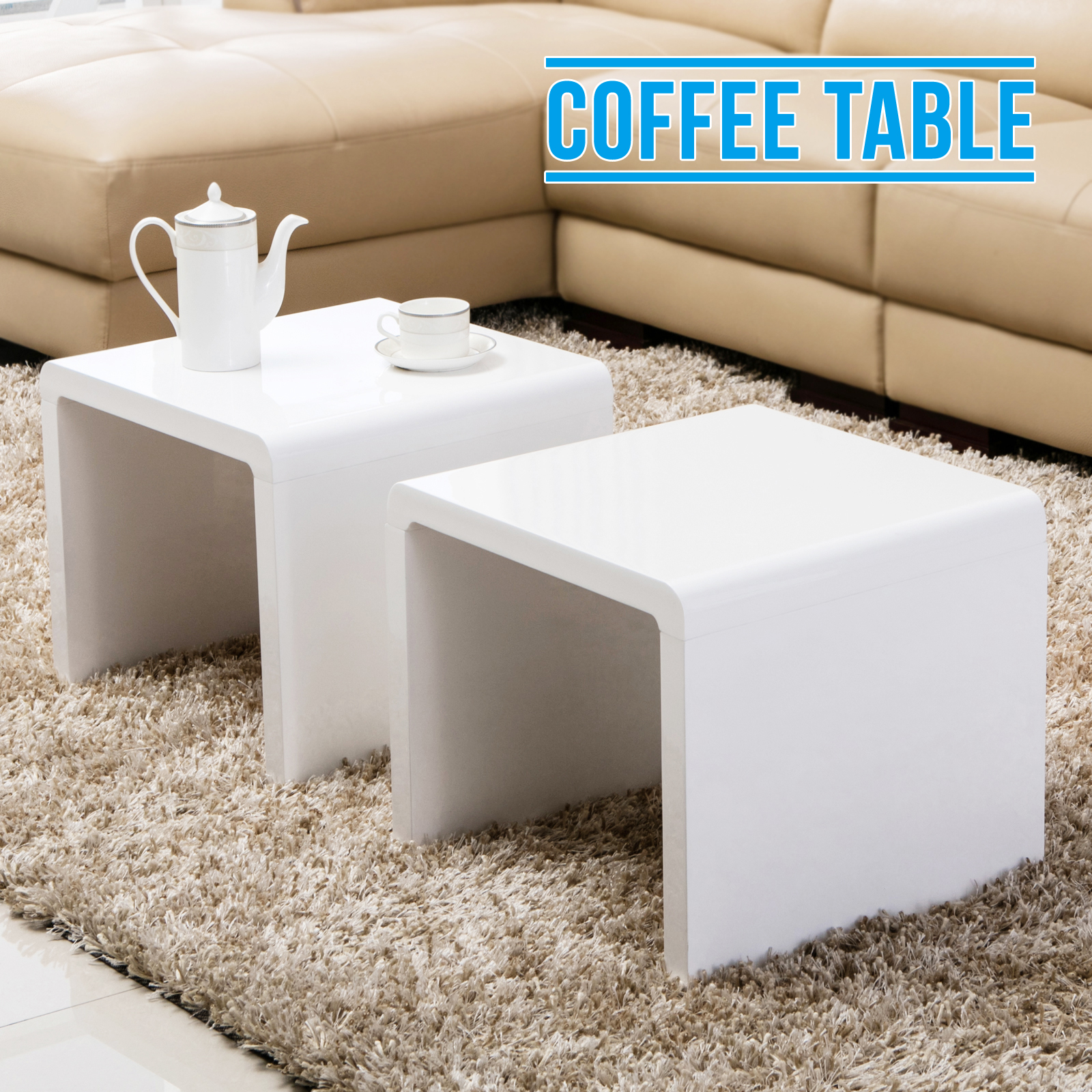 White High Gloss Side End Square 2 Seats Of Coffee Table: Design White High Gloss Coffee Table Side/End Table Set Of