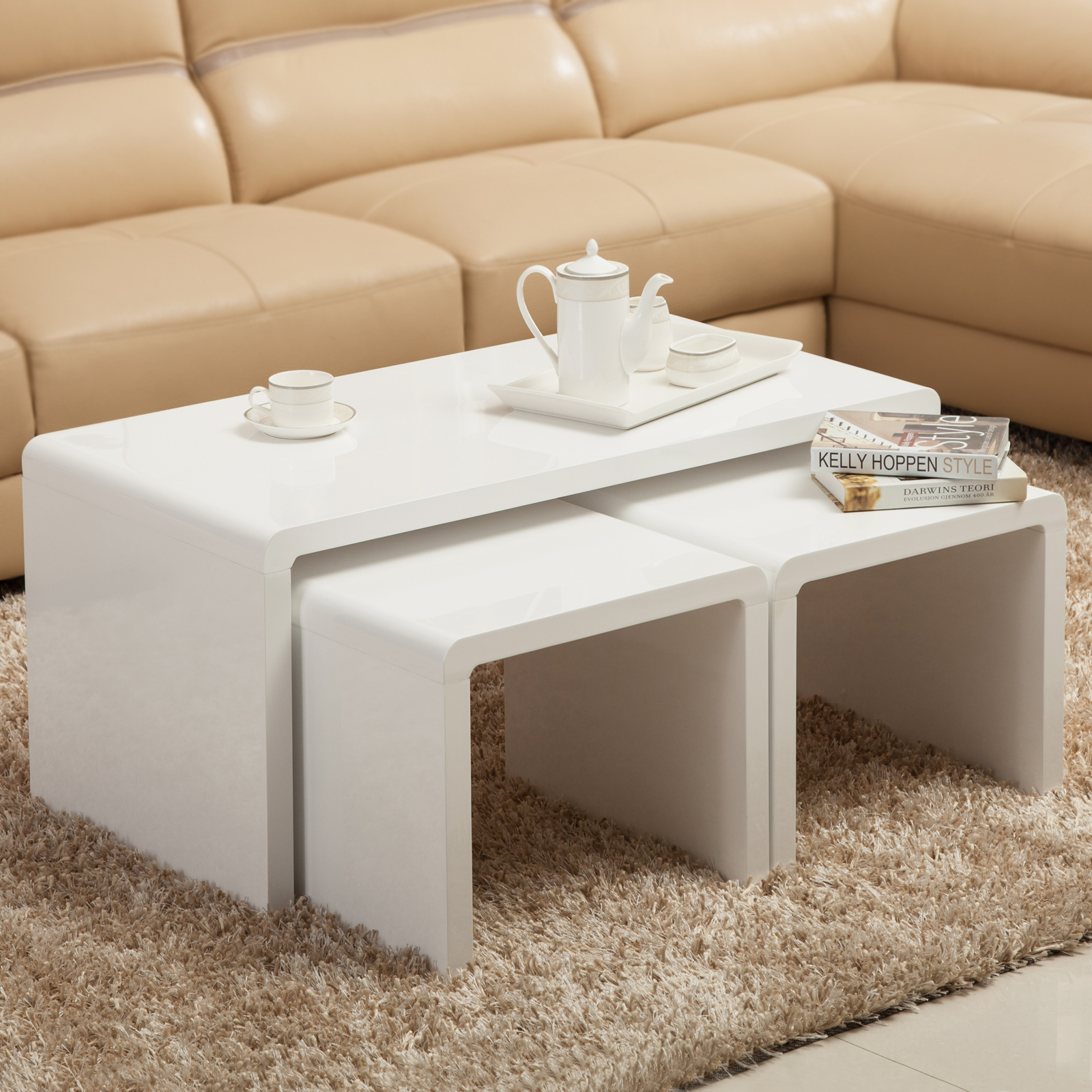 High gloss white coffee table side end table set of 2 for High end coffee tables living room