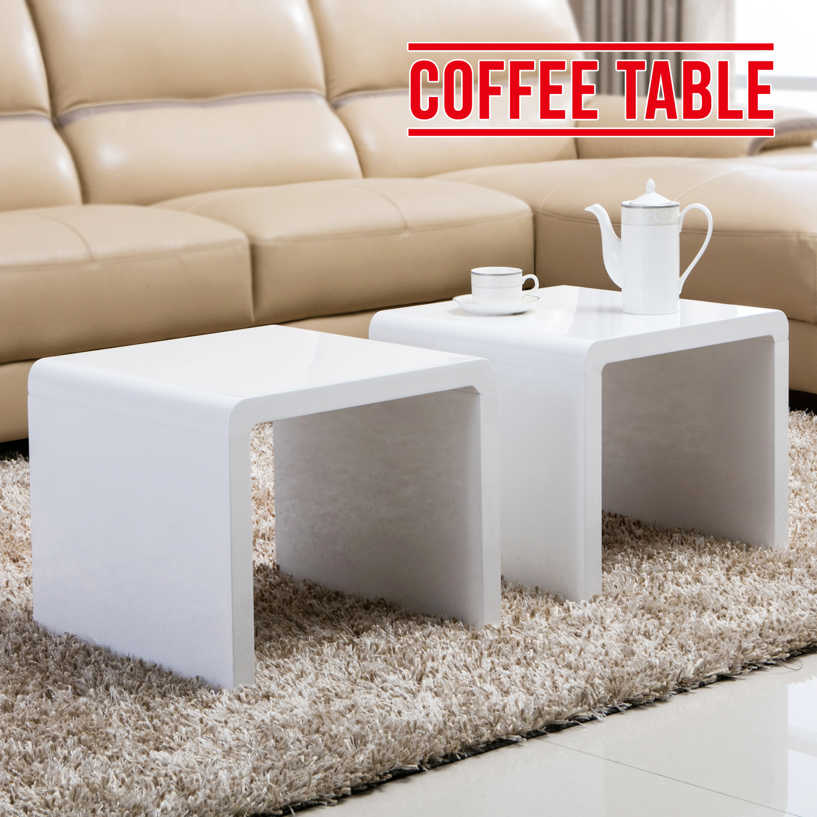 High Gloss White Set of 2 Coffee Tables Square Side End Living Room ...