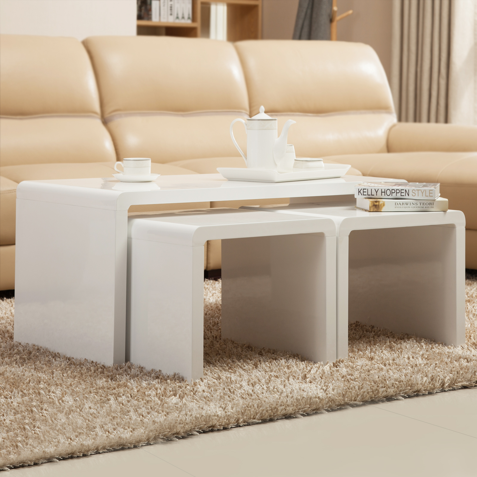 High gloss white coffee table side end table set of 2 living room furniture for White end tables for living room