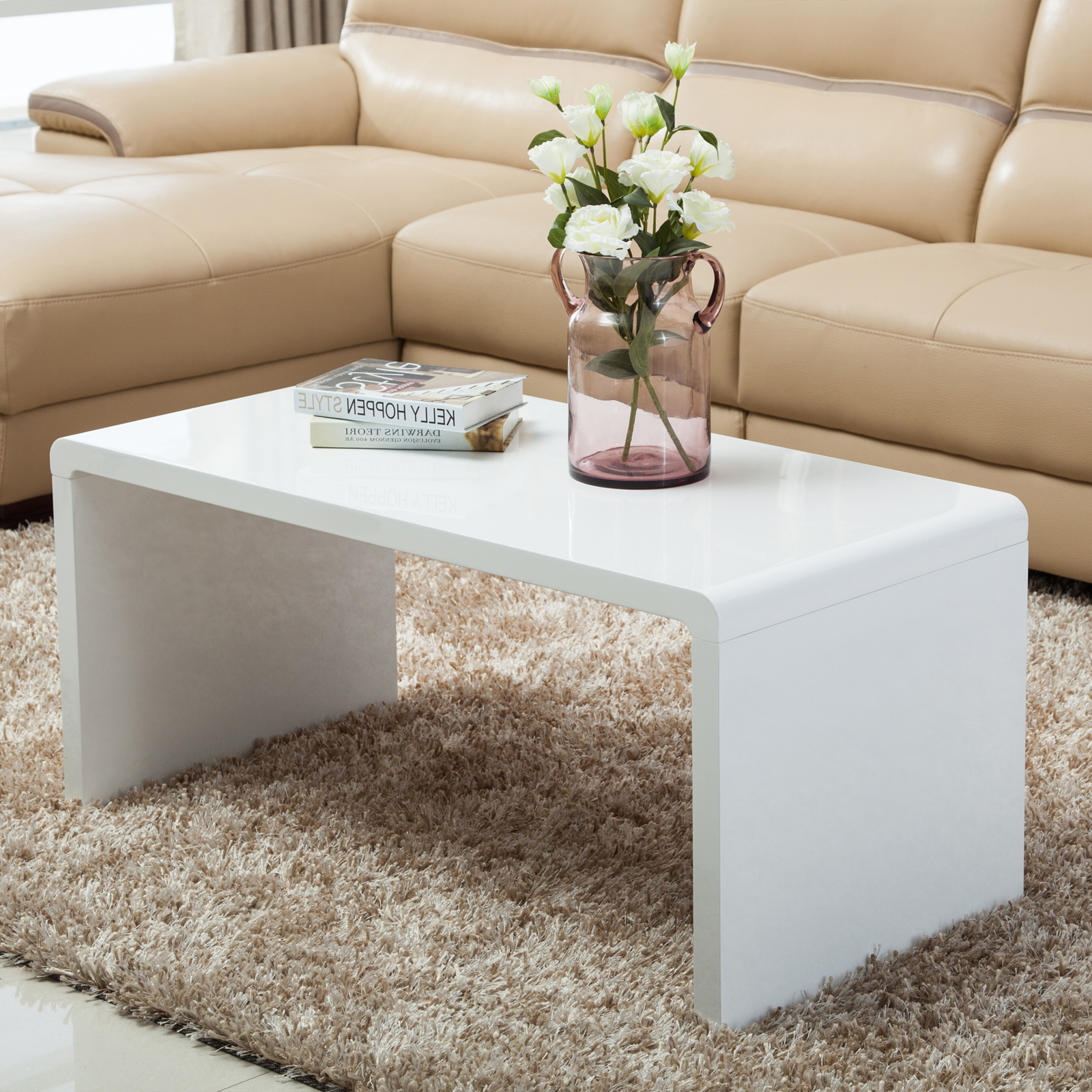 high gloss white coffee table side end table set of 2