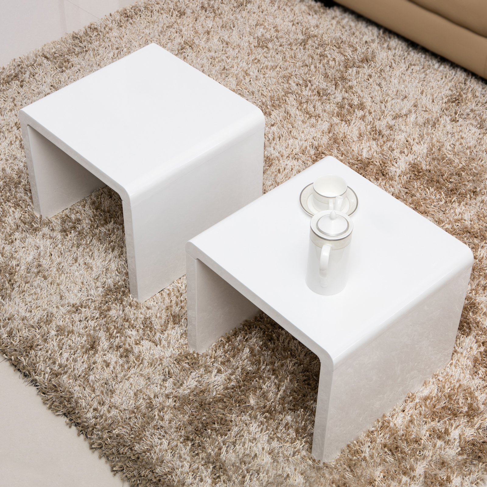 High Gloss 3 Side Nested Of Tables White Set Coffee Table: High Gloss White Coffee Table Side/End Table Set Of 2