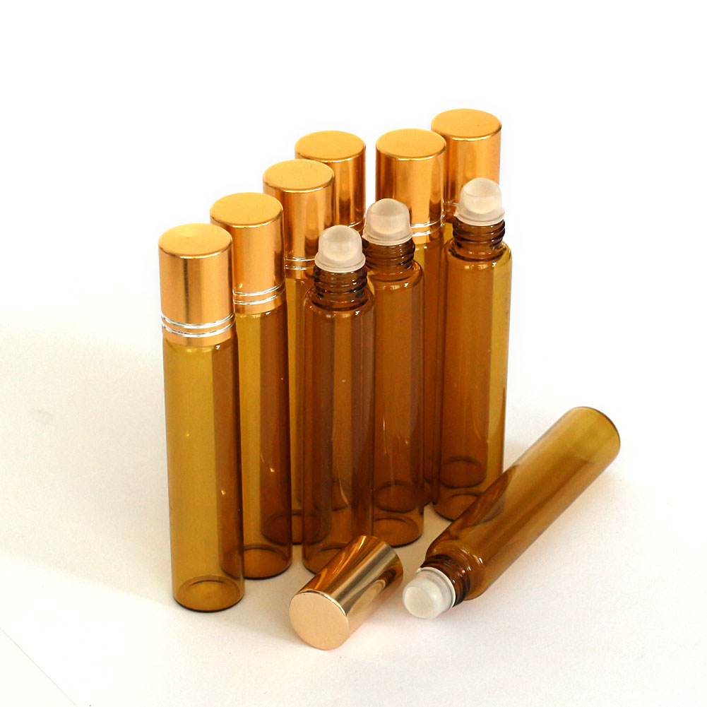 10 5 Pcs Amber 1 3 Oz 10 Ml Glass Roll On Bottles With
