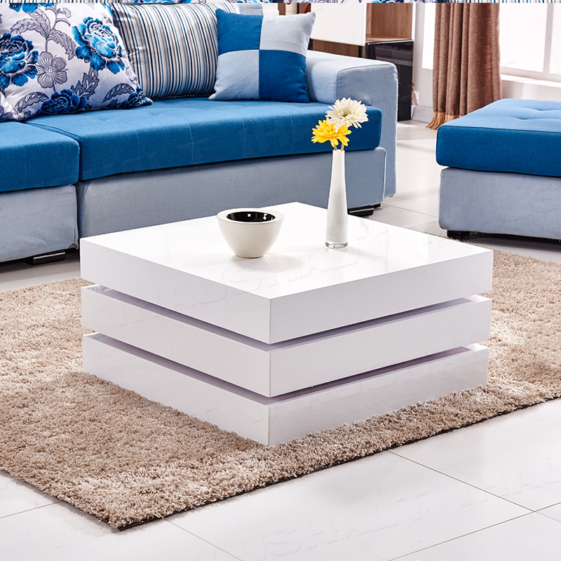 Coffee Table Layers White High Gloss Amazon Co Uk Kitchen: High Gloss Rotating Square White Coffee Table Modern