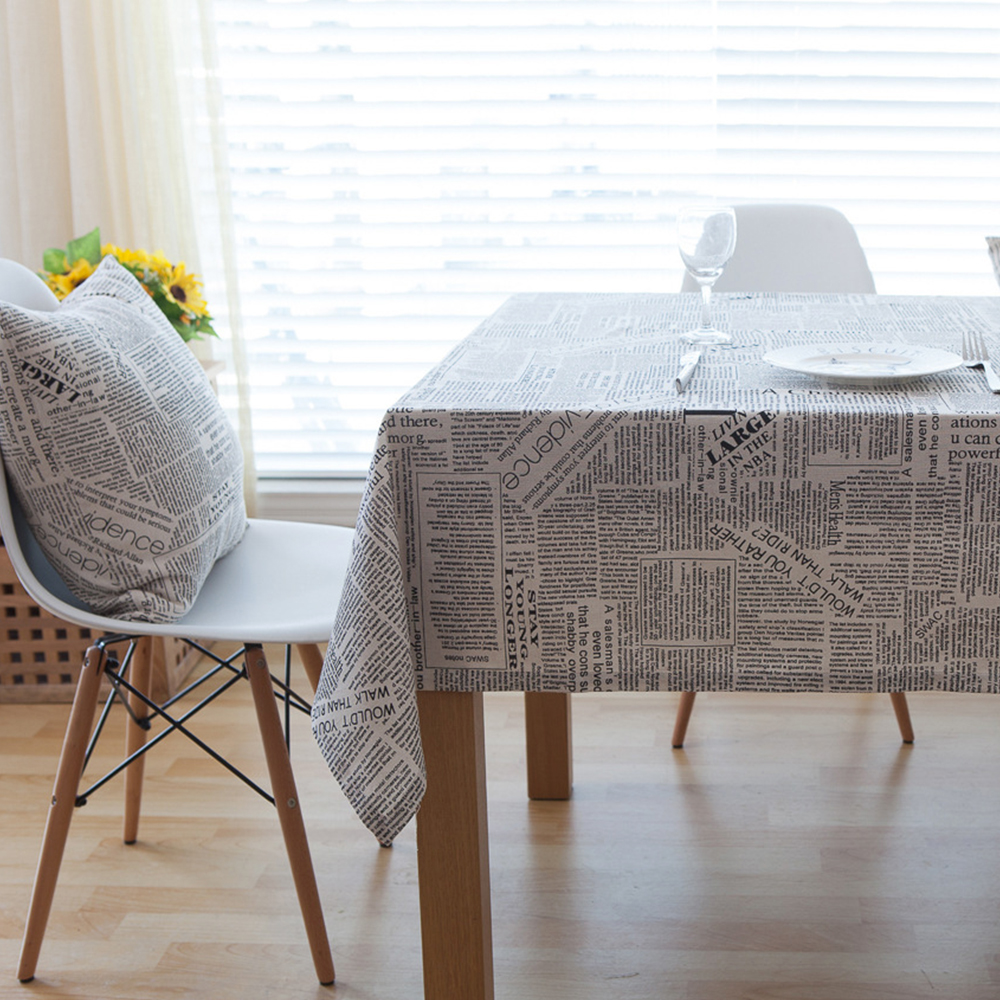 newspaper pattern tablecloth cotton linen dining room decor cover gift