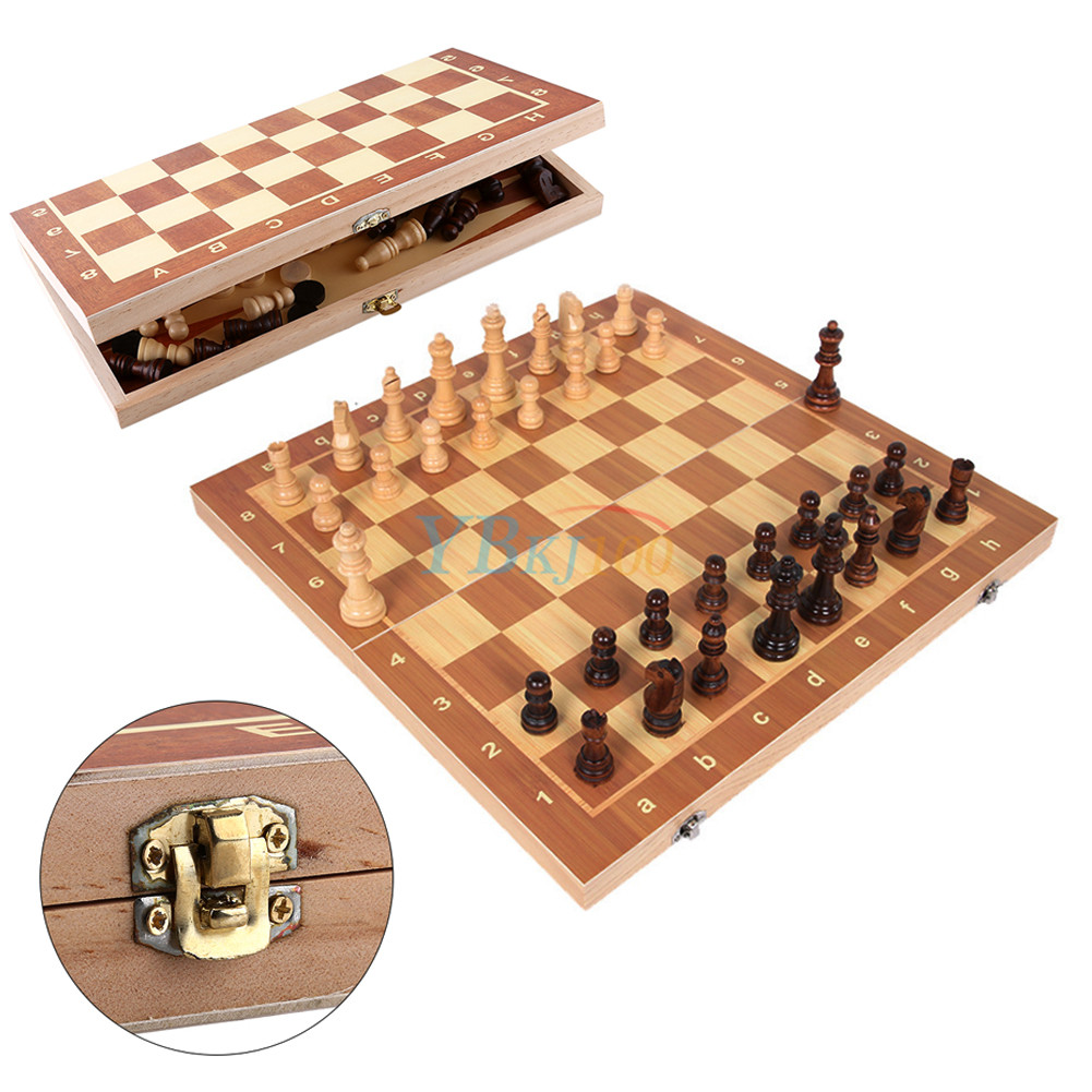 Wooden Portable Pieces Chess Set Folding Board Box Wood