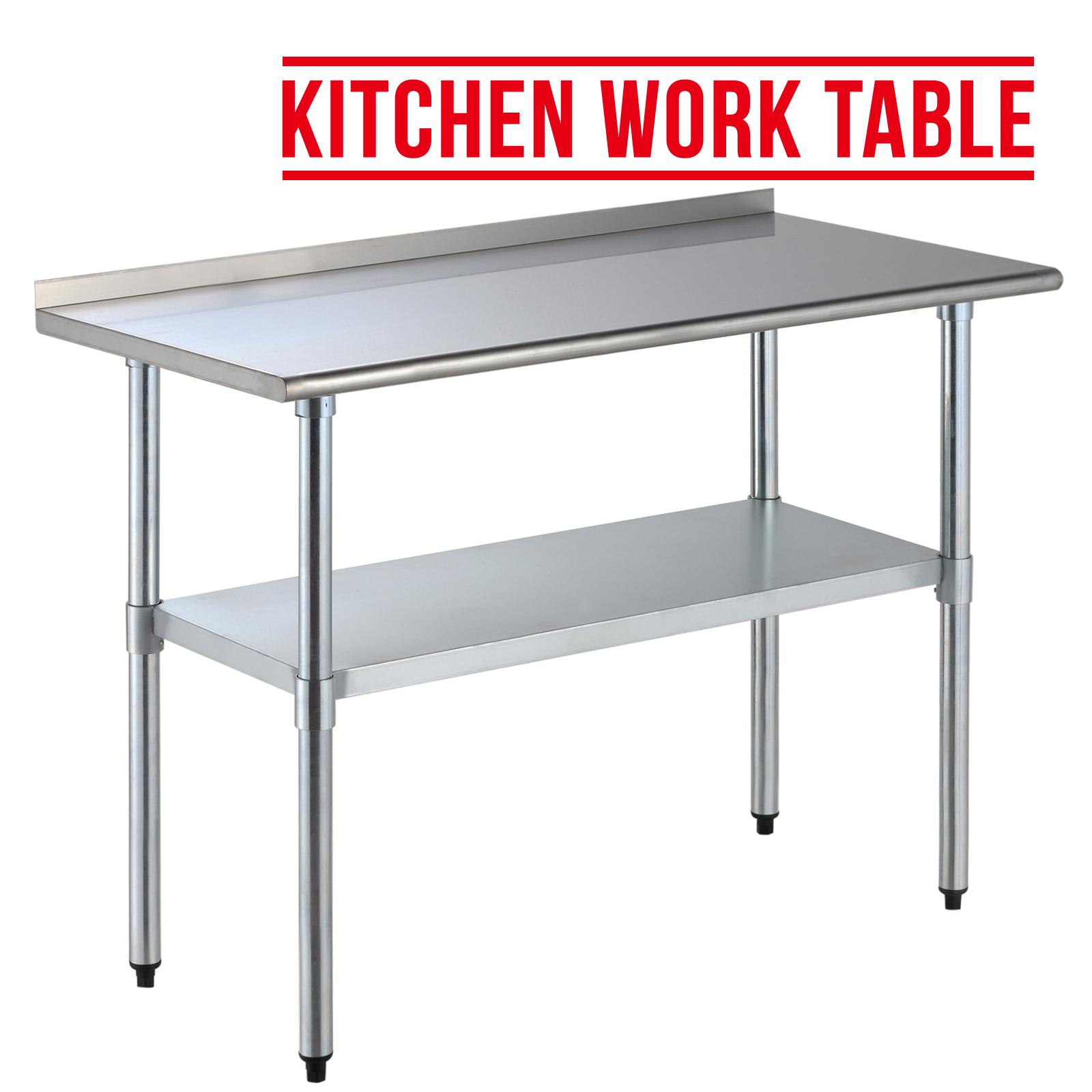 stainless steel kitchen restaurant work prep table w backsplash ebay