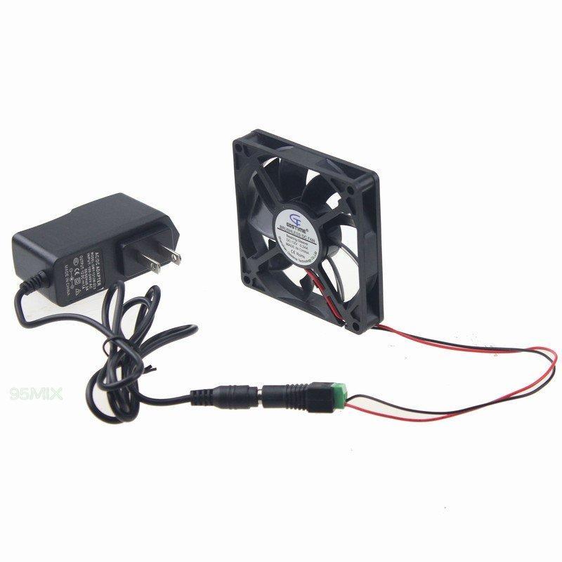 Gdt 80mm 80x15mm New Case Cabinet Fan Kit 12V DC Power Supply Adapter+Converter