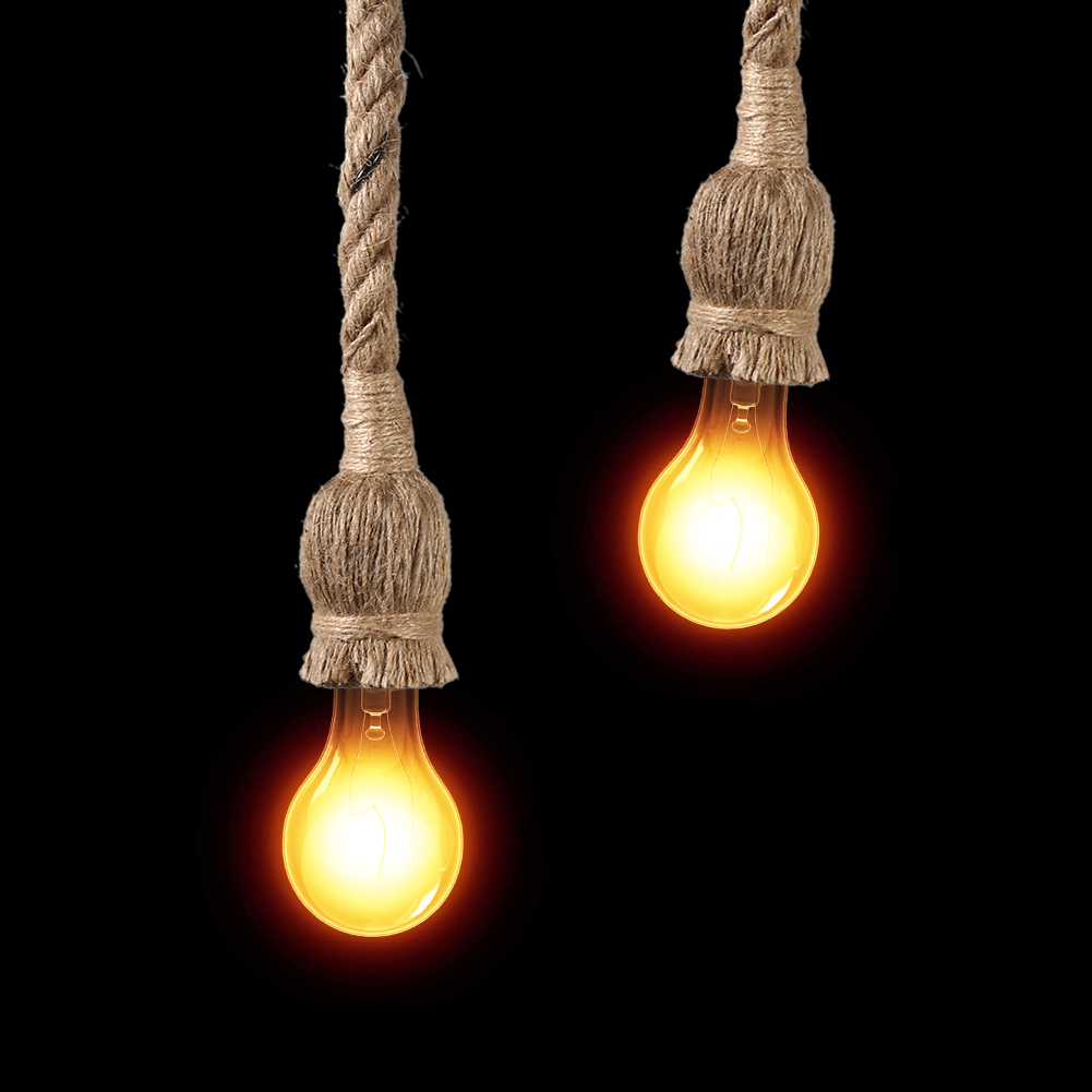 Hanging Light Bulb Fittings: Pendant Light Fittings Hemp Rope Ceiling Lamp Loft Vintage