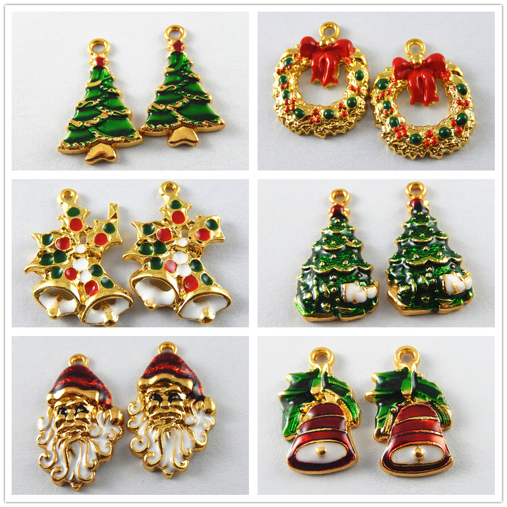 Xmas jewelry crafts enamel gold alloy christmas tree jingle bell xmas jewelry crafts enamel gold alloy christmas tree jingle bell pendants charms aloadofball Image collections