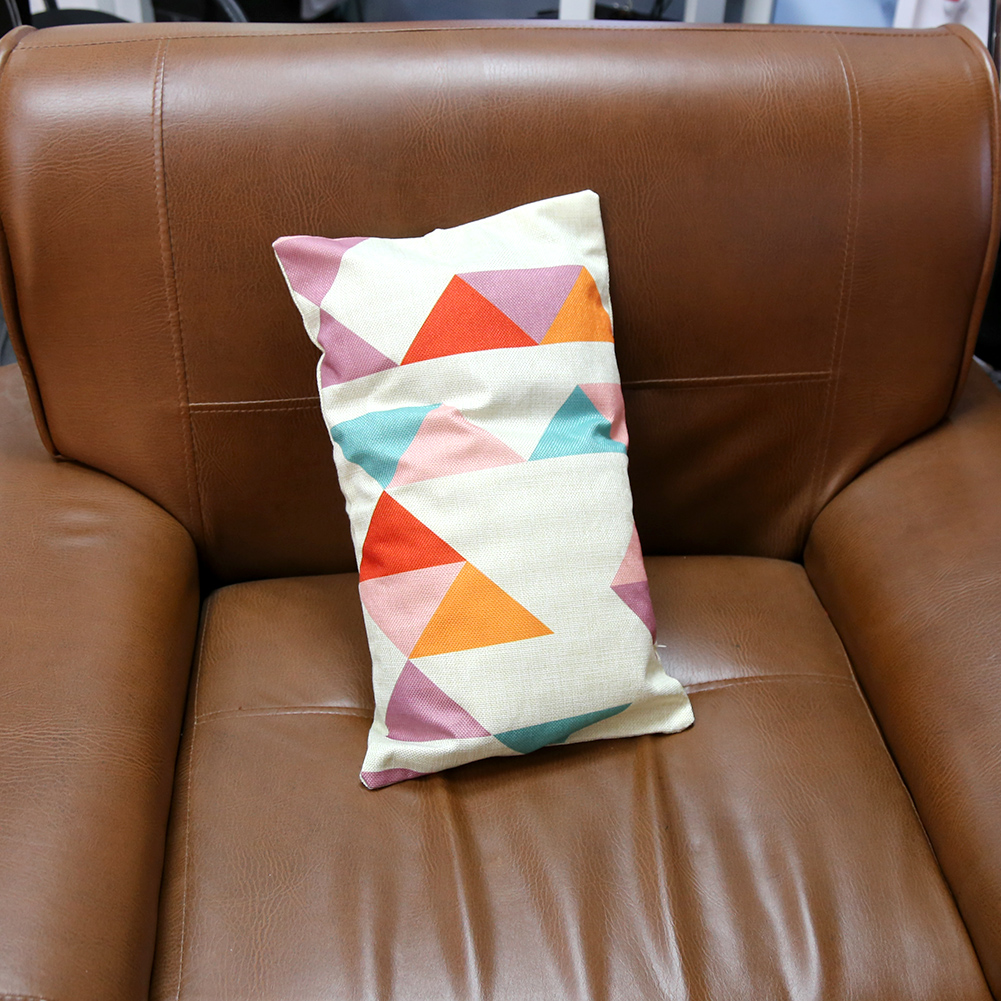 Rectangular Throw Pillow Covers : Rectangle Linen Throw Pillow Case Sofa Cushion Cover Cartoon Triangle Pattern HG eBay