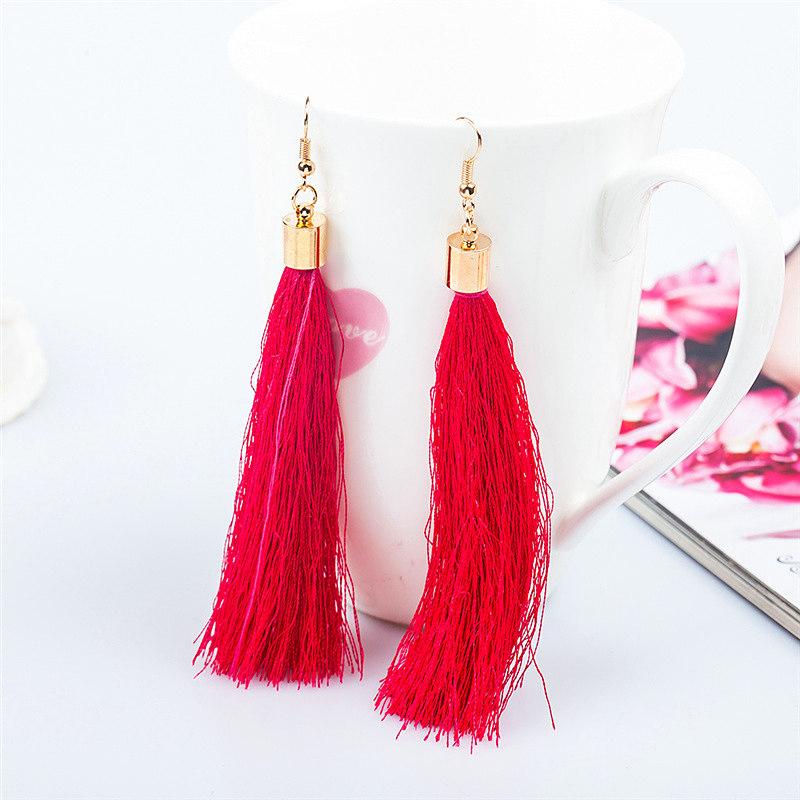 Hot 1 Pair Women New Bohemian Style Long Tassel Dangle ...