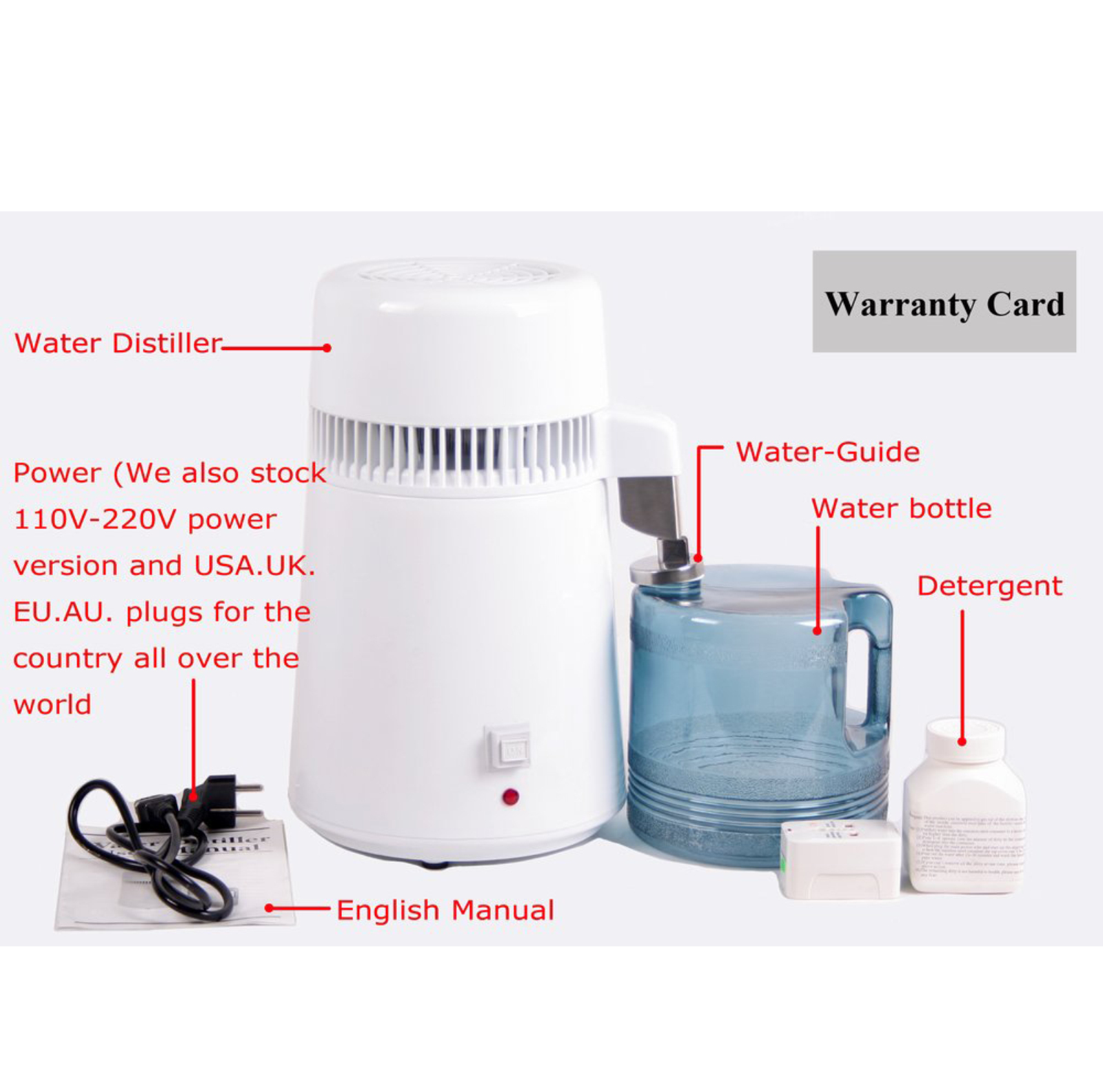 Water Distiller Manual ~ L stainless steel pure water distiller filter distilled