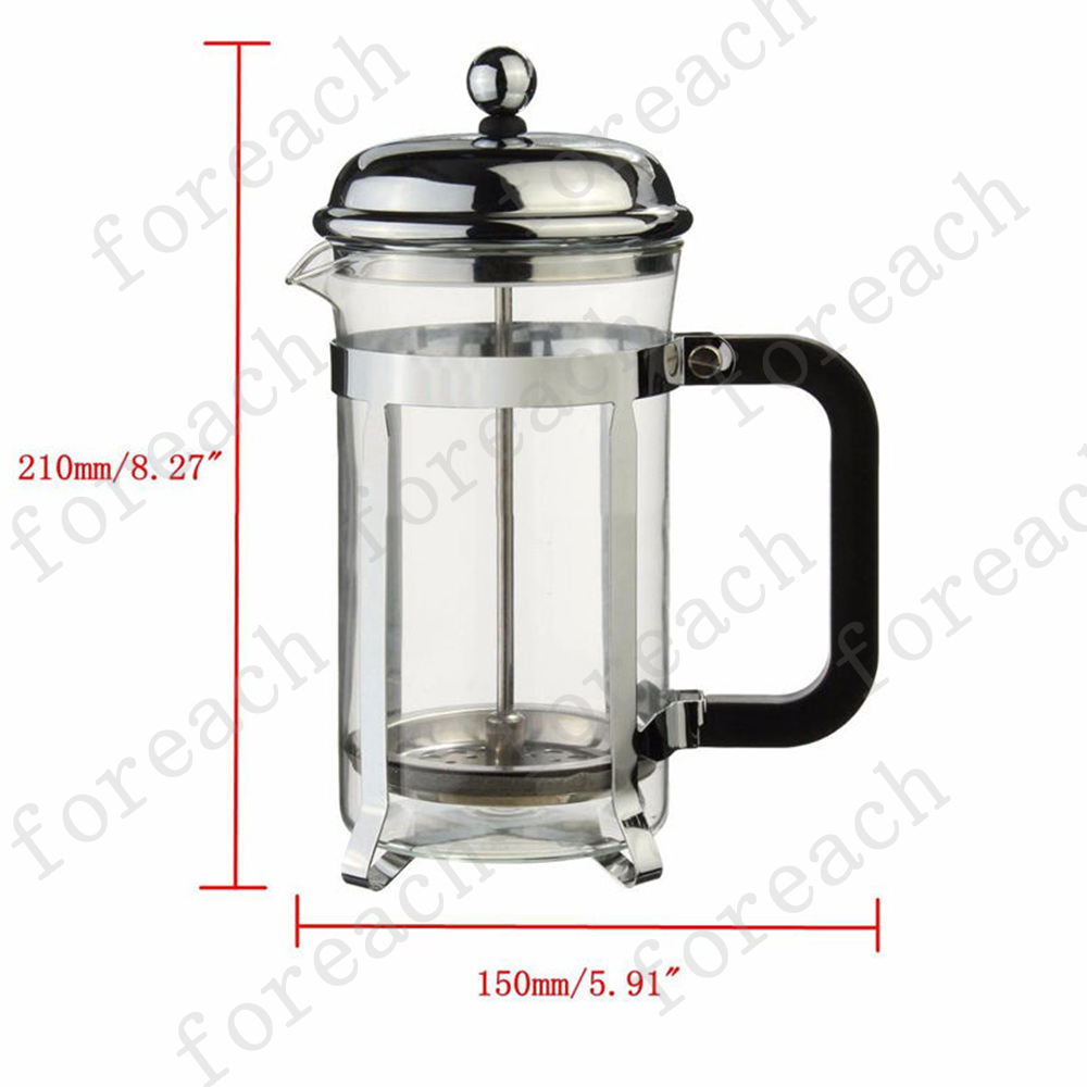 600ml Coffee Plunger Tea Maker French Press Glass Stainless Steel Filter + Spoon eBay