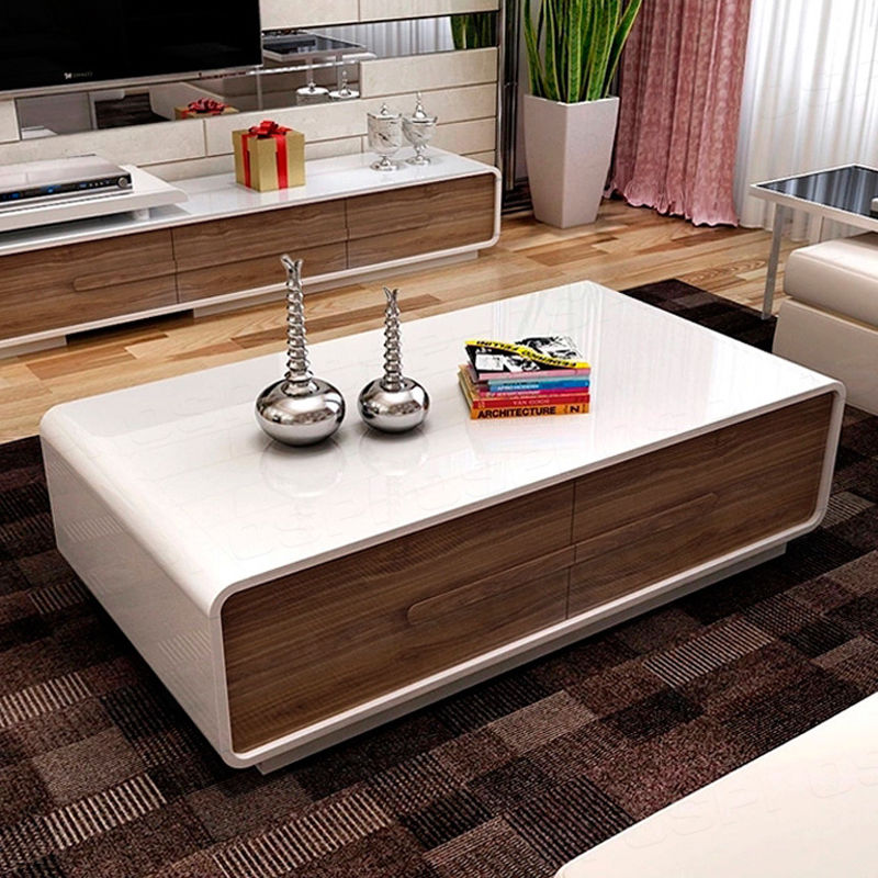 High Gloss White Tv Stand Unit Coffee Table With Walnut