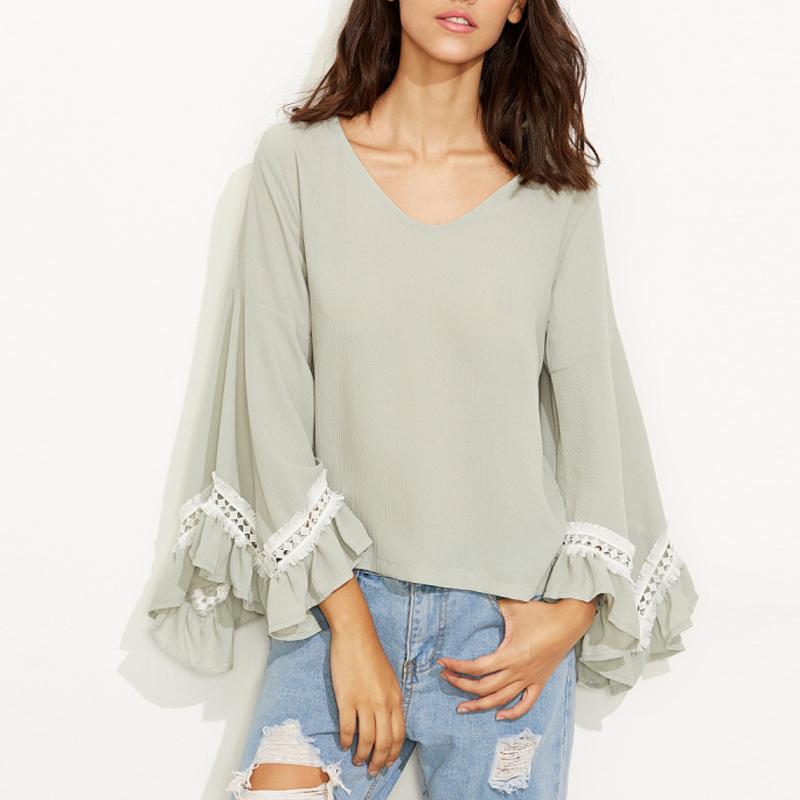 Women v neck ruffle bell sleeve shirt contrast crochet for Bell bottom sleeve shirt