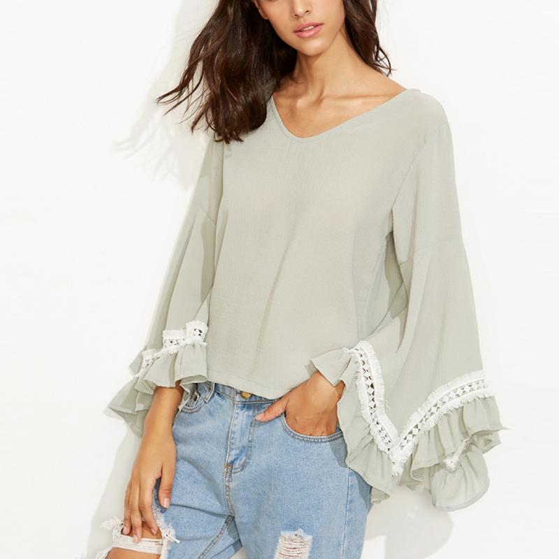 V Neck Drawstring Crochet Bell Sleeve T-Shirts
