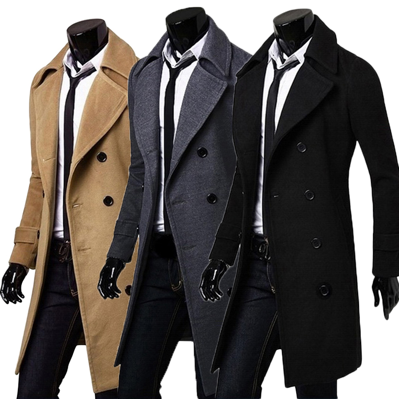 herren fashion zweireiher mantel jacke casual business lang trenchcoat sakko ebay. Black Bedroom Furniture Sets. Home Design Ideas
