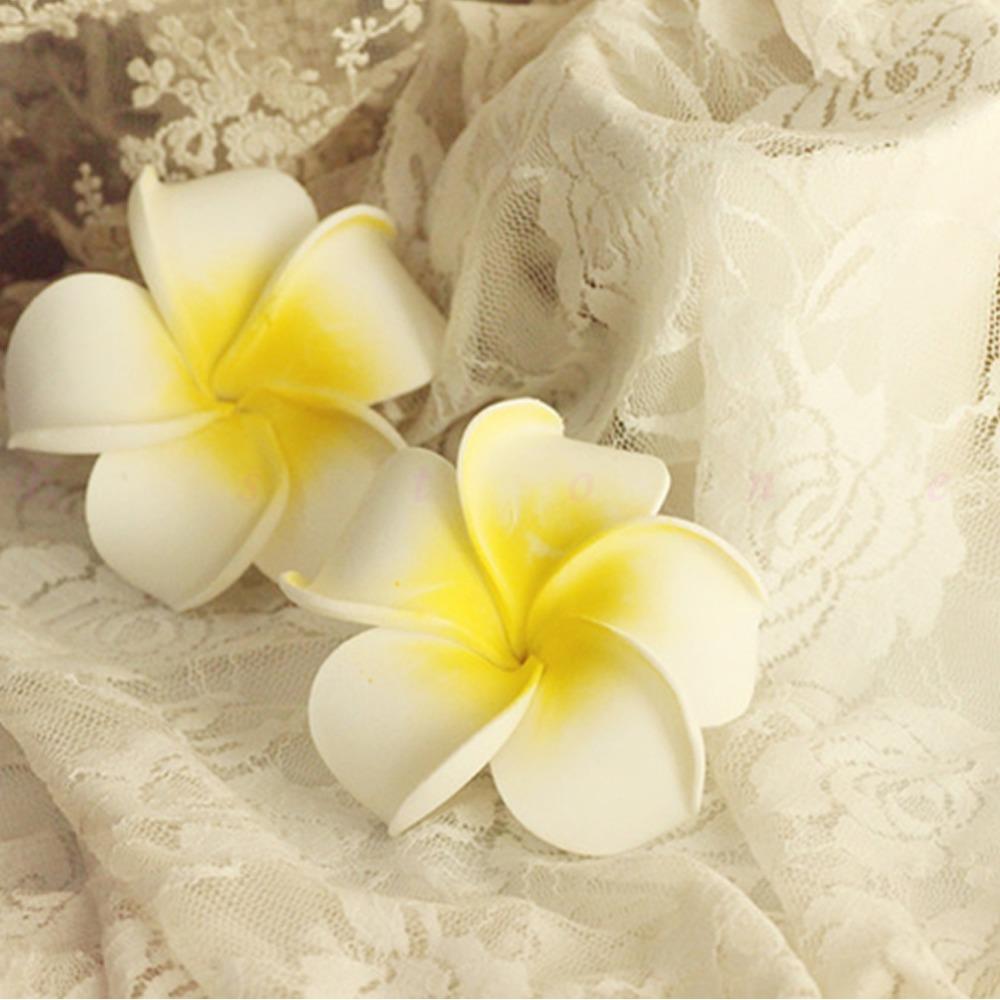 20x Artificial Wedding Flowers Latex Frangipani Hair Pin White