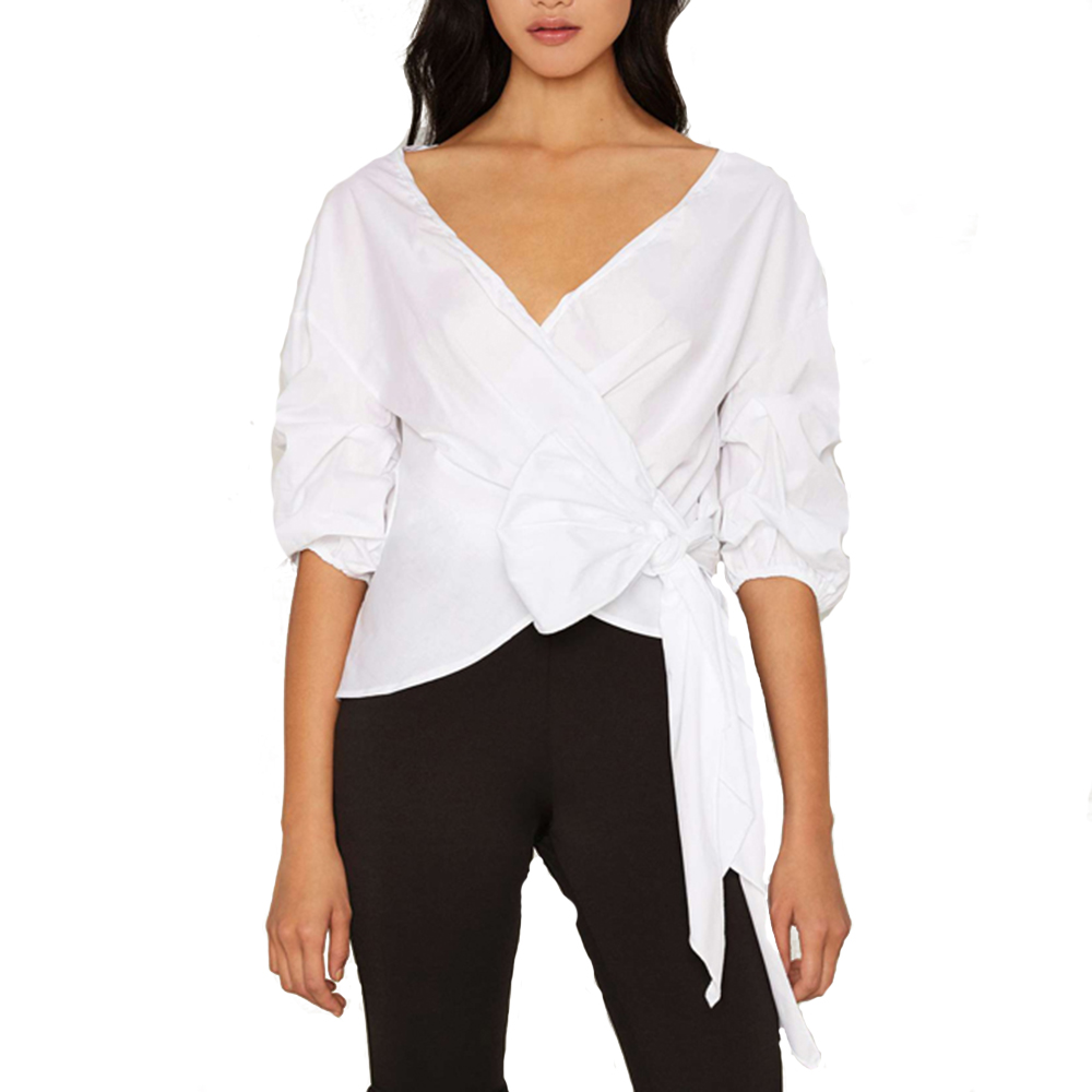 Haoduoyi Women Ruffle Sleeve Oversized Wrap Top White