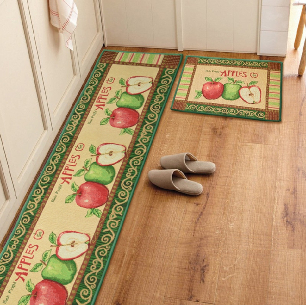 Yazi 1 2pcs Vintage Countryside Apple Kitchen Rug Anti Slip Floor Carpet Runner Ebay