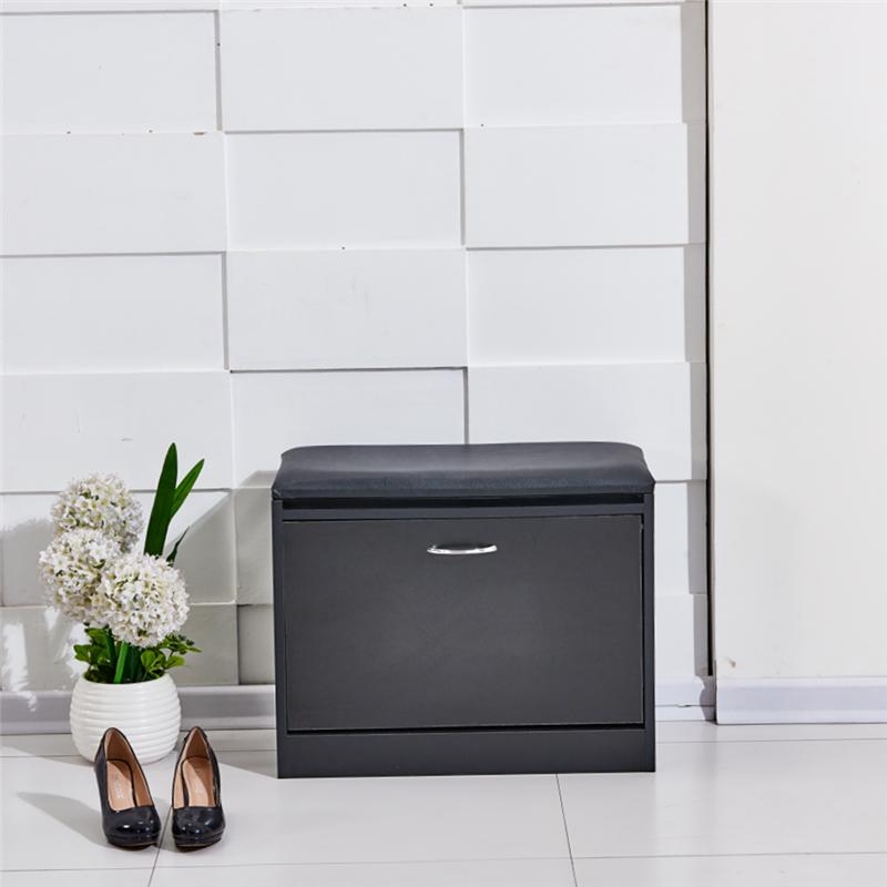 Foyer Cabinet Uk : New black shoe stool storage cabinet rack closet pu seat