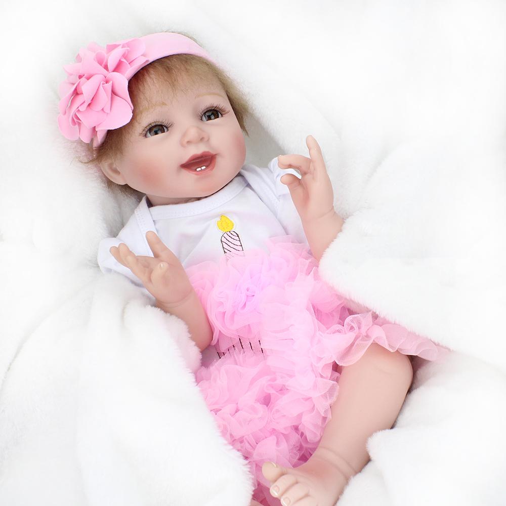 "Handmade Lifelike Baby Girl Doll 22"" Silicone Vinyl Reborn"