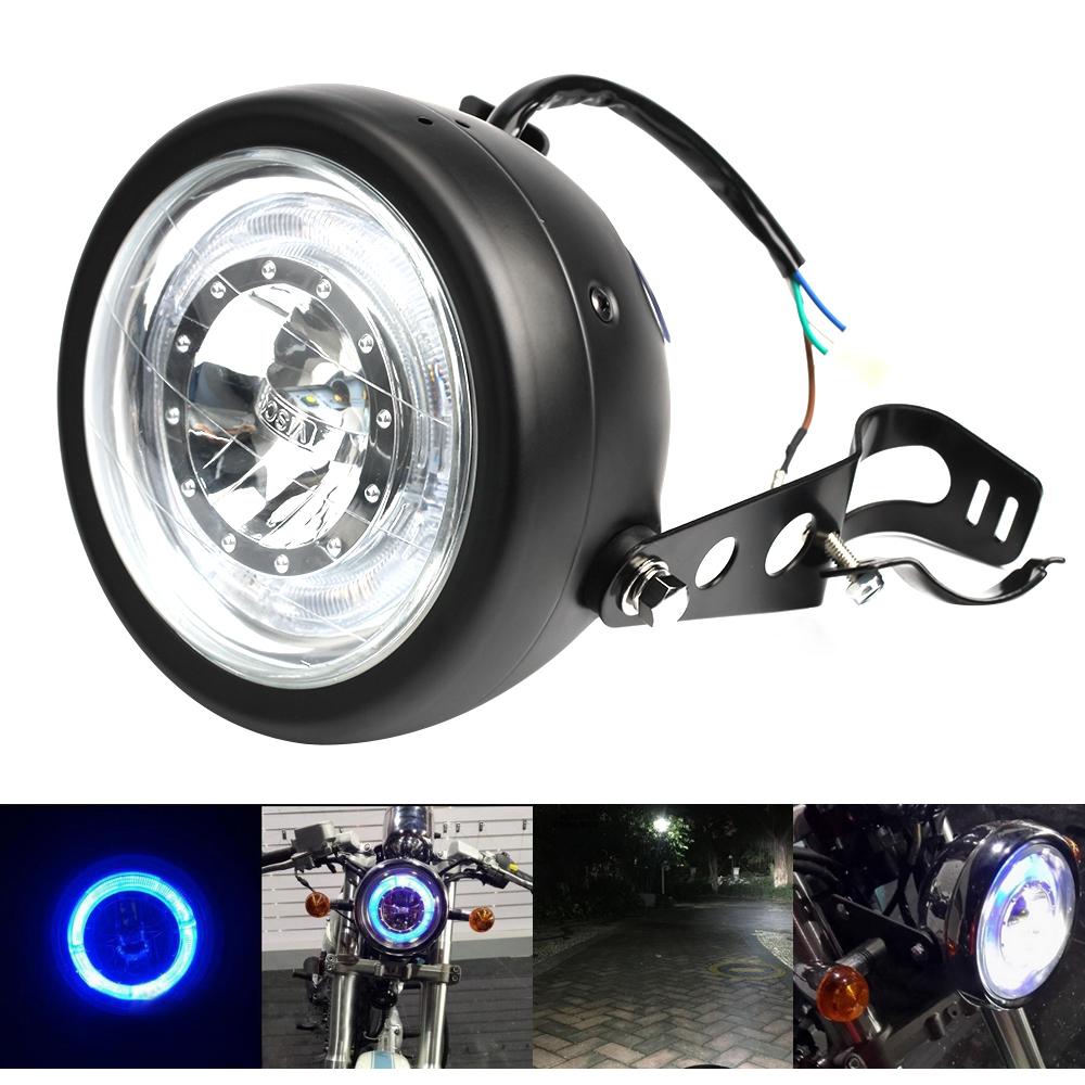 5 5 cob led motorrad scheinwerfer mit angel eye atv roller 12v halter ebay. Black Bedroom Furniture Sets. Home Design Ideas