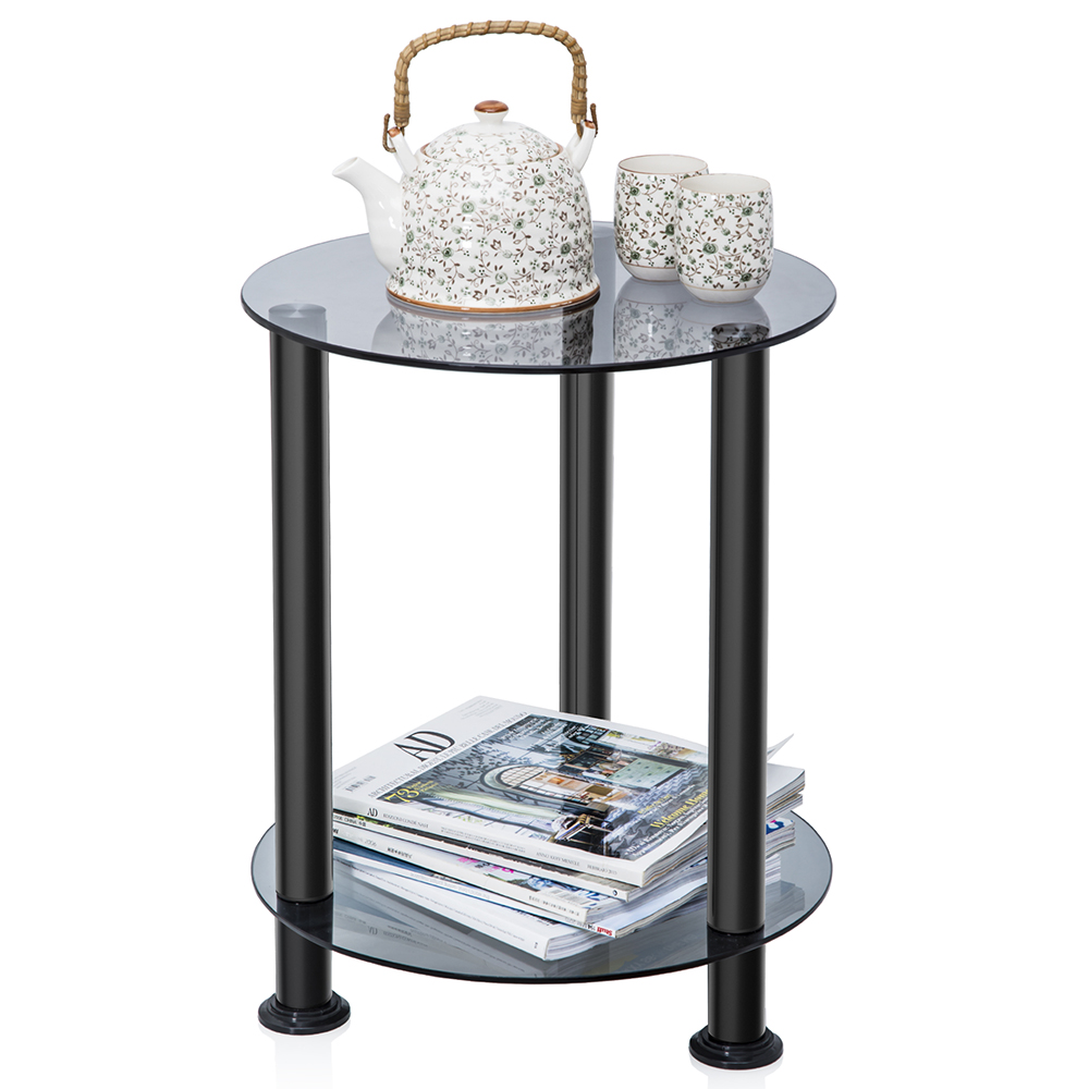 fitueyes gray glass end table accent side table coffee. Black Bedroom Furniture Sets. Home Design Ideas