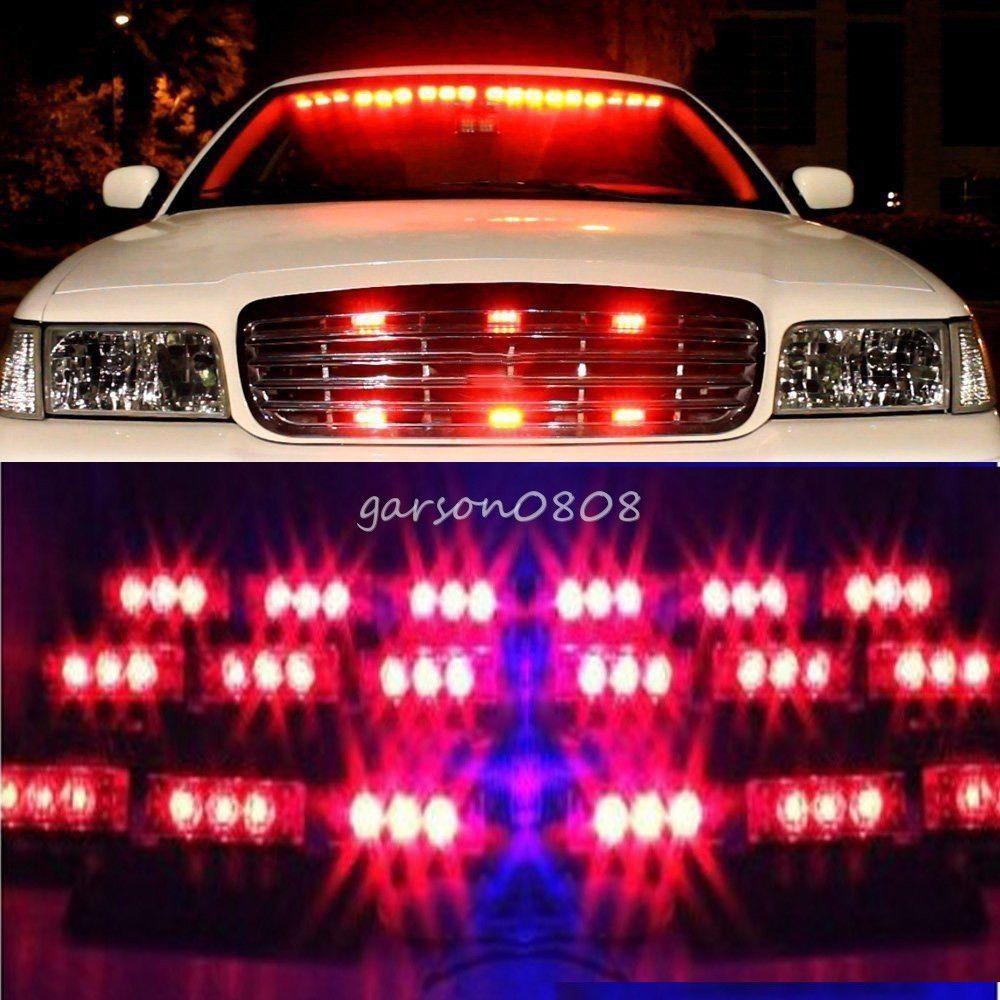 54 led red emergency car vehicle strobe lights bars. Black Bedroom Furniture Sets. Home Design Ideas